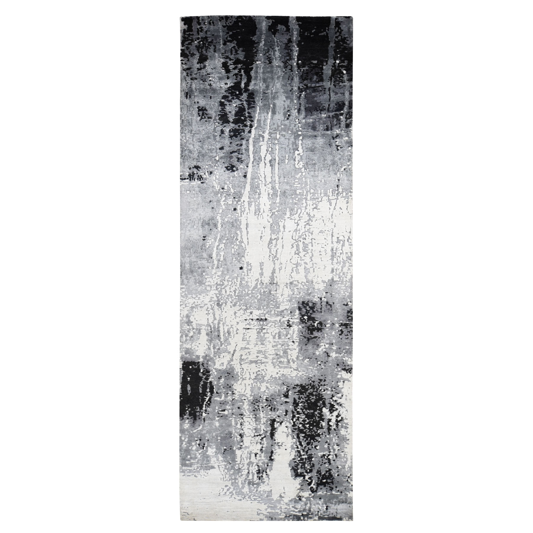 """4'2""""X13'1"""" Black Abstract Design Wool And Silk Wide Runner Hand Knotted Oriental Rug moad780e"""
