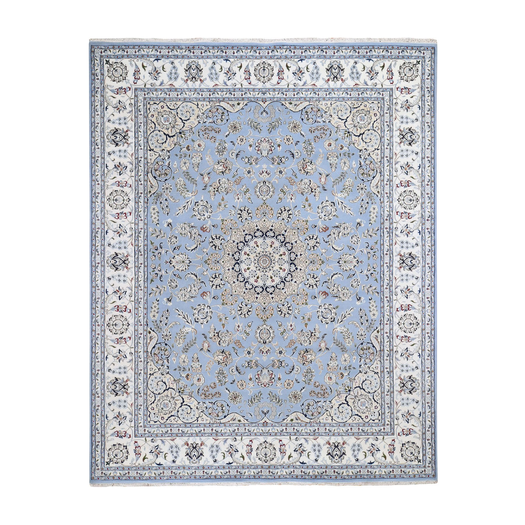 """8'1""""X10'2"""" Light Blue Nain Wool And Silk 250 Kpsi Hand Knotted Oriental Rug moad7807"""