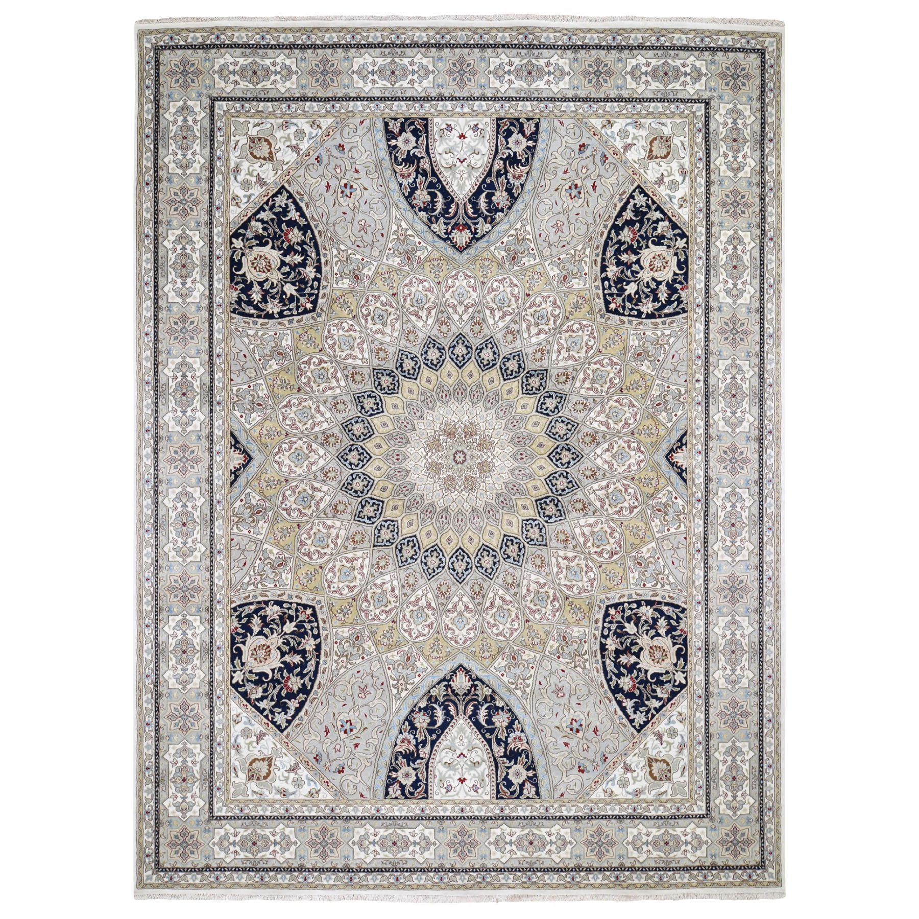 "8'9""x11'10"" Gray Nain With Gumbad Design Wool and Silk Hand Knotted Oriental Rug"
