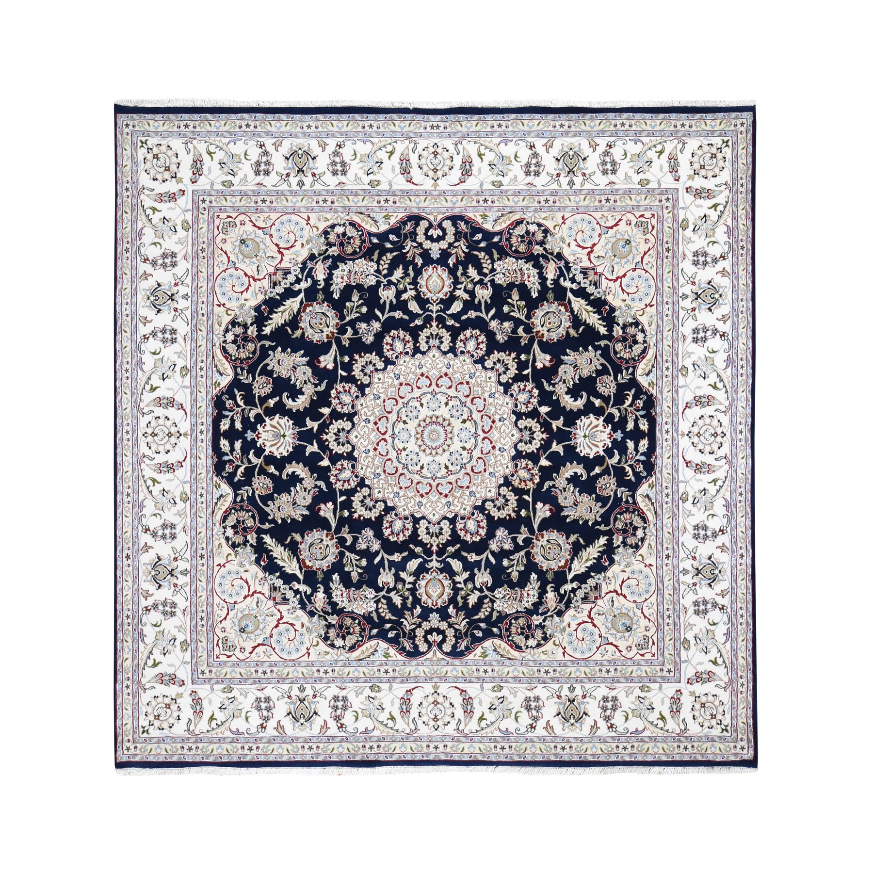"8'3""x8'3"" Square Wool And Silk 250 KPSI Navy Nain Hand-Knotted Oriental Rug"