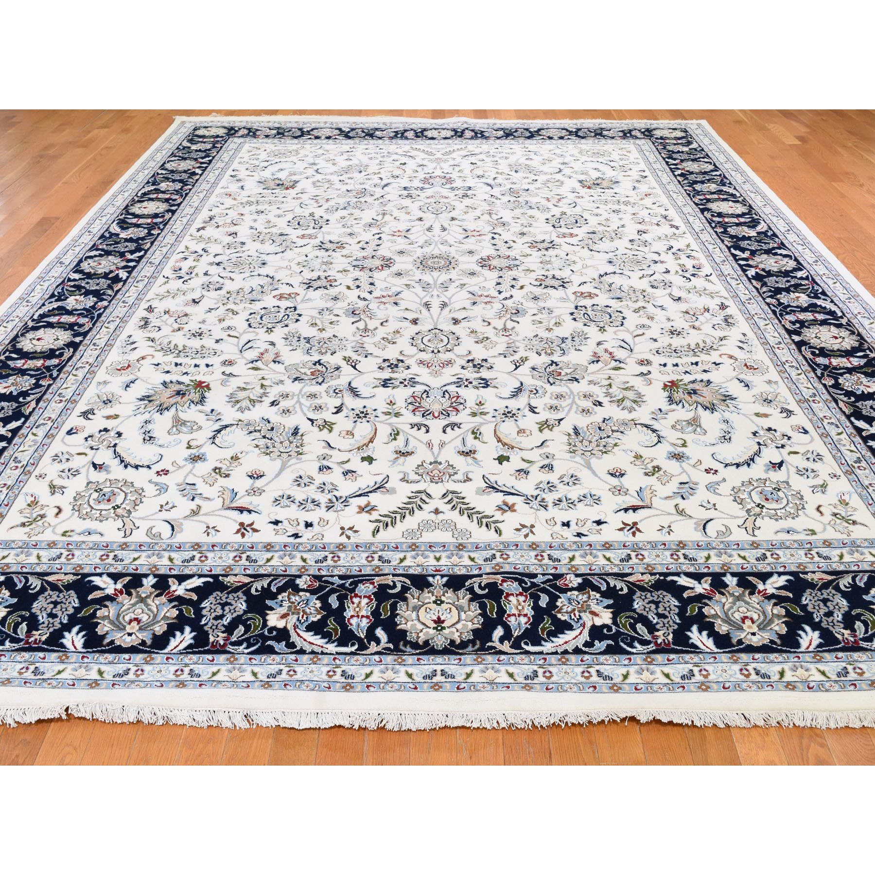 10'x14' Wool And Silk 250 KPSI All Over Design Ivory Nain Hand Knotted Oriental Rug