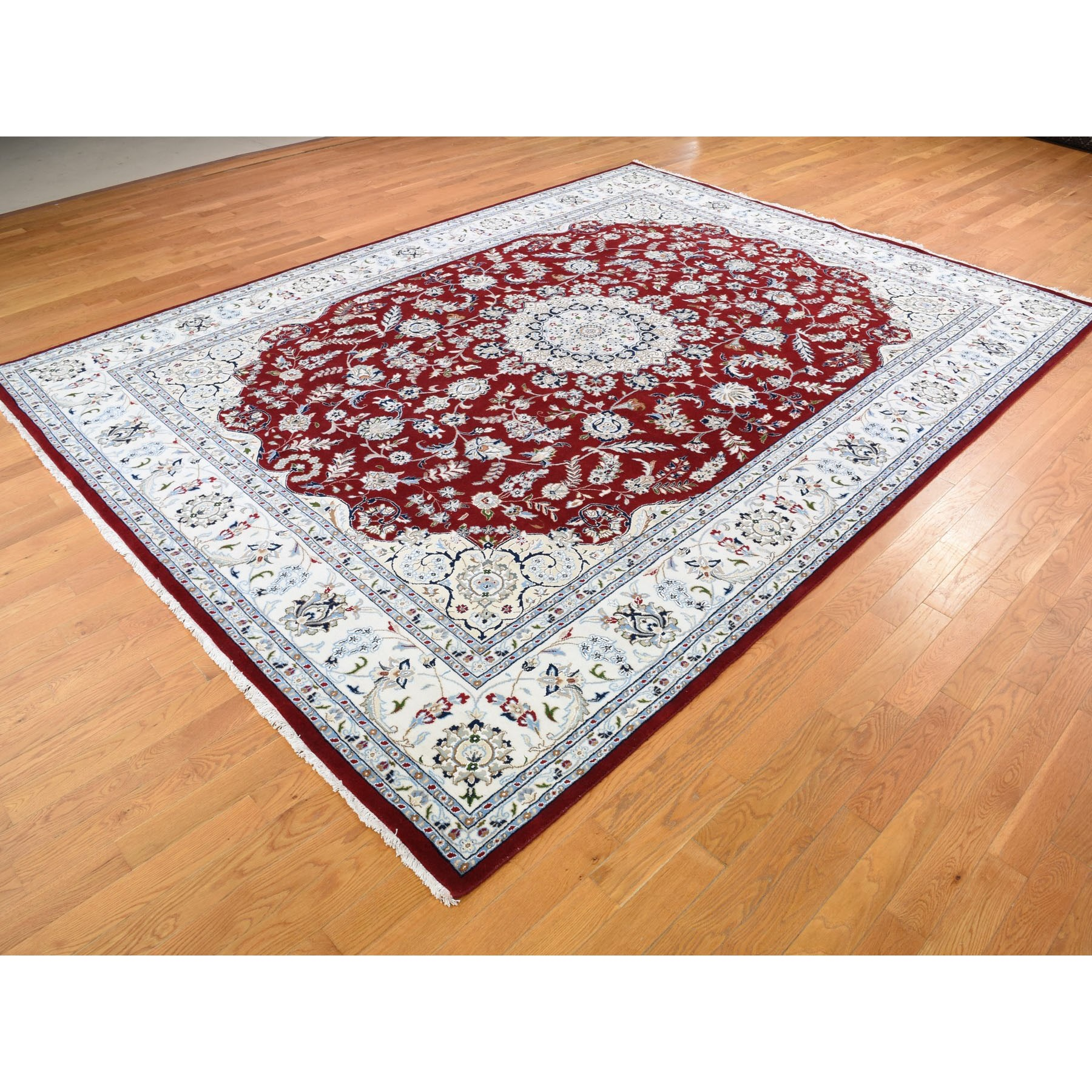 9-x12-1  Red Wool and Silk Nain 250 KPSI Hand Knotted Oriental Rug