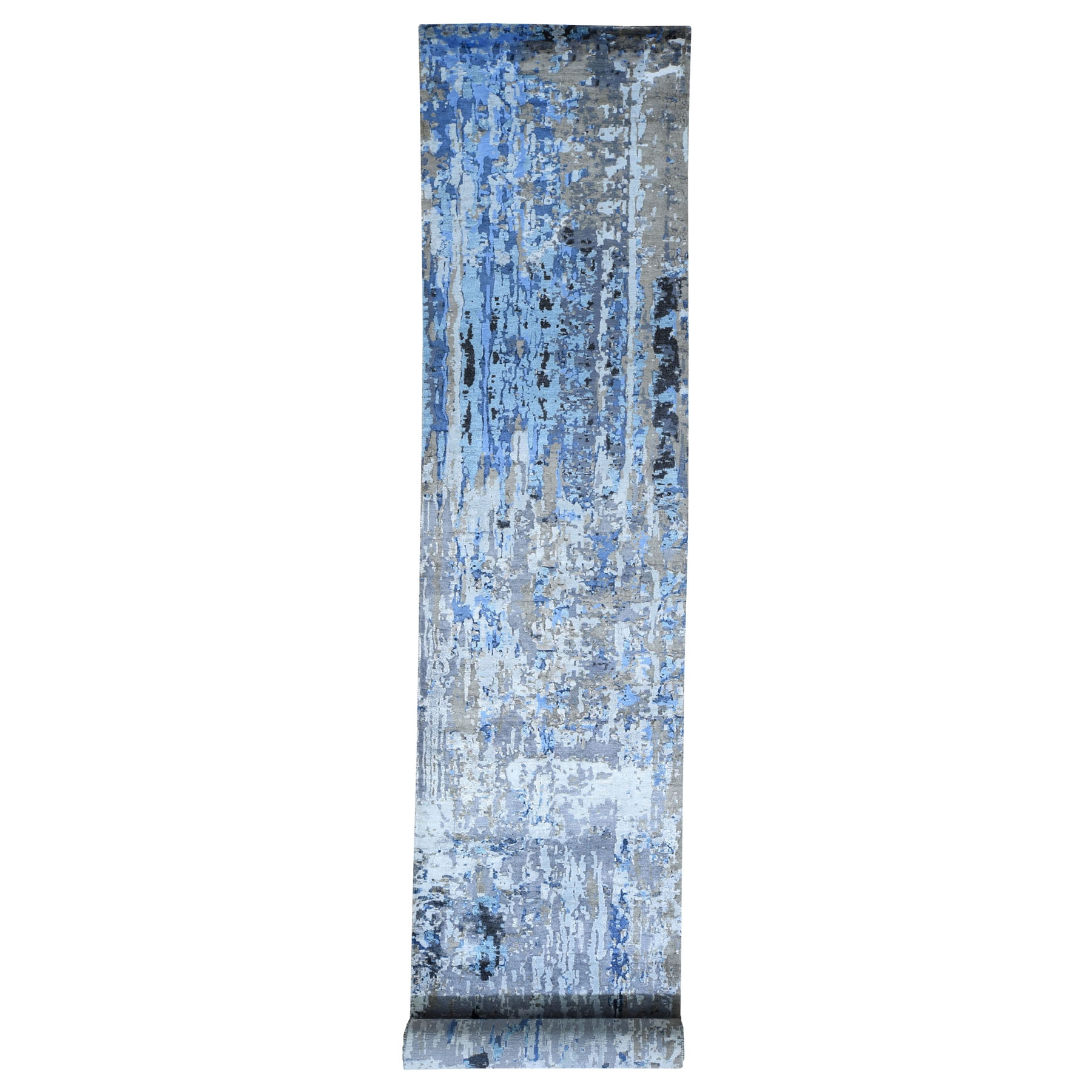 "2'9""x13' Abstract Design Wool And Silk Runner Hand Knotted Oriental Rug"