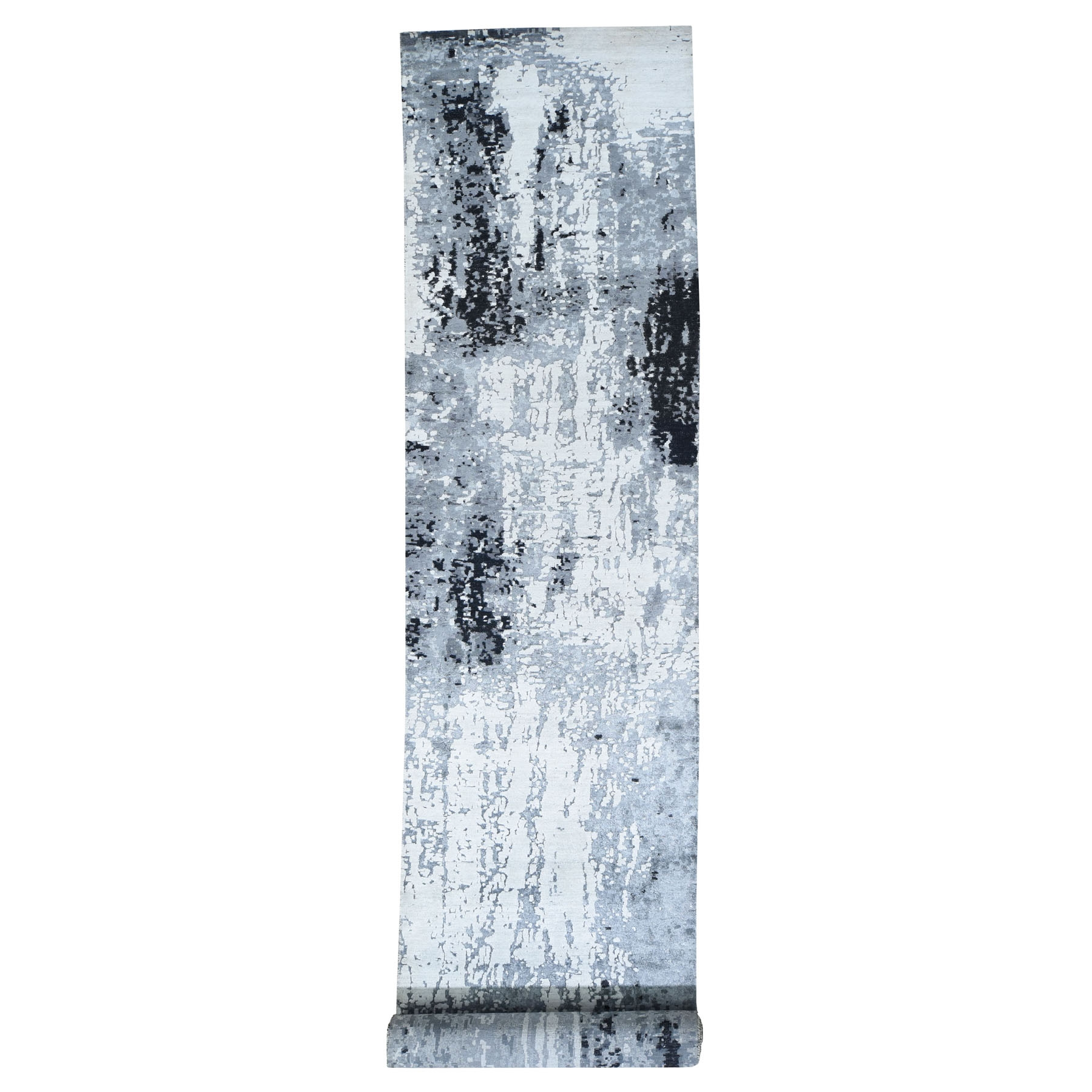 3'x13' Black Abstract Design Wool and Silk  Runner Hand Knotted Oriental Rug