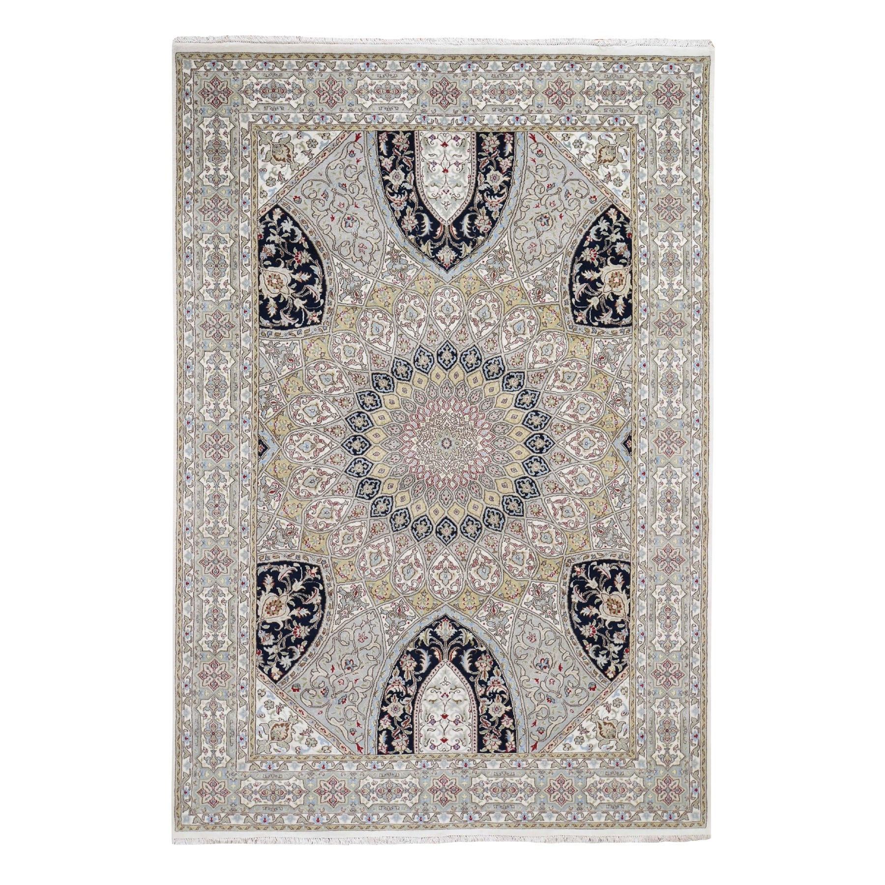 6'x9' Gray Nain With Gumbad Design Wool and Silk Hand Knotted Oriental Rug