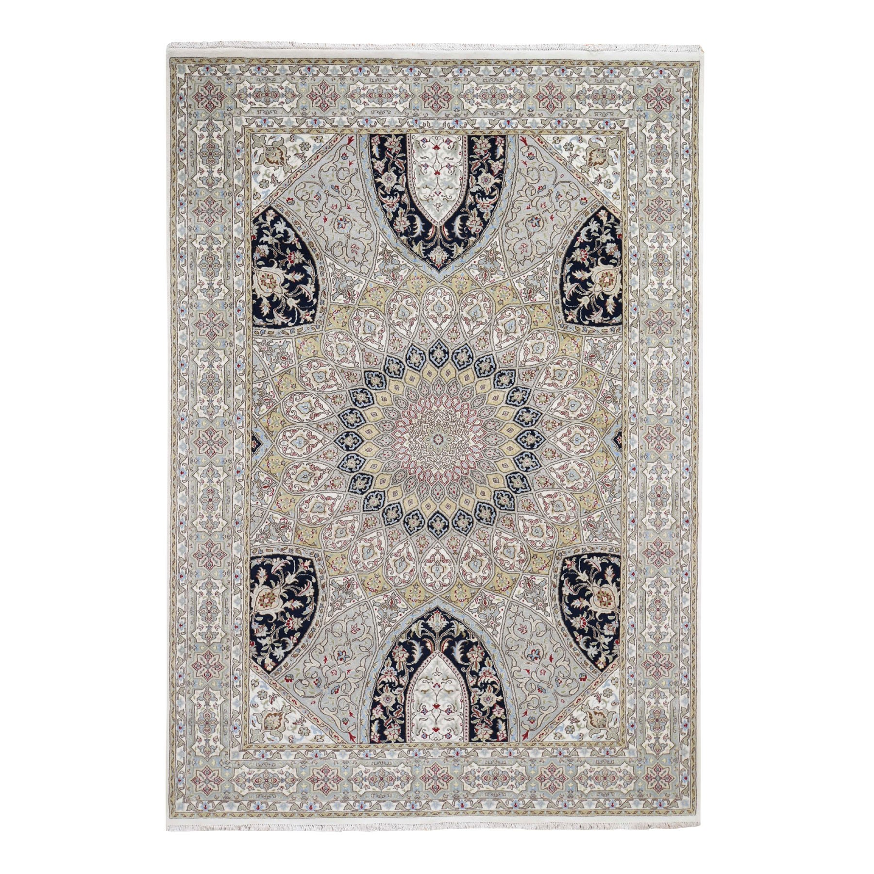 "6'x9'2"" Gray Nain With Gumbad Design Wool and Silk Hand Knotted Oriental Rug"