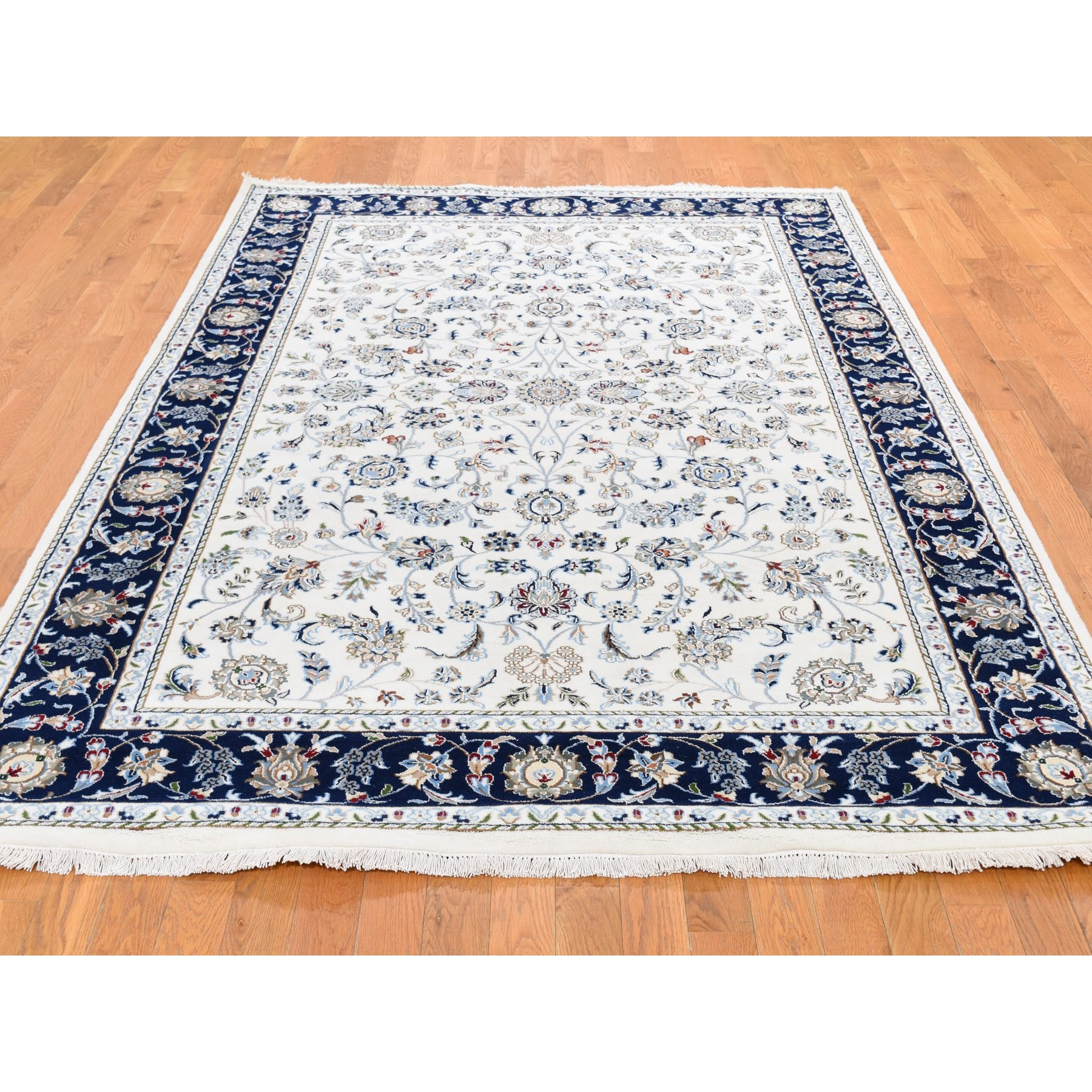 """6'x8'10"""" Wool And Silk 250 KPSI All Over Design Ivory Nain Hand Knotted Oriental Rug"""