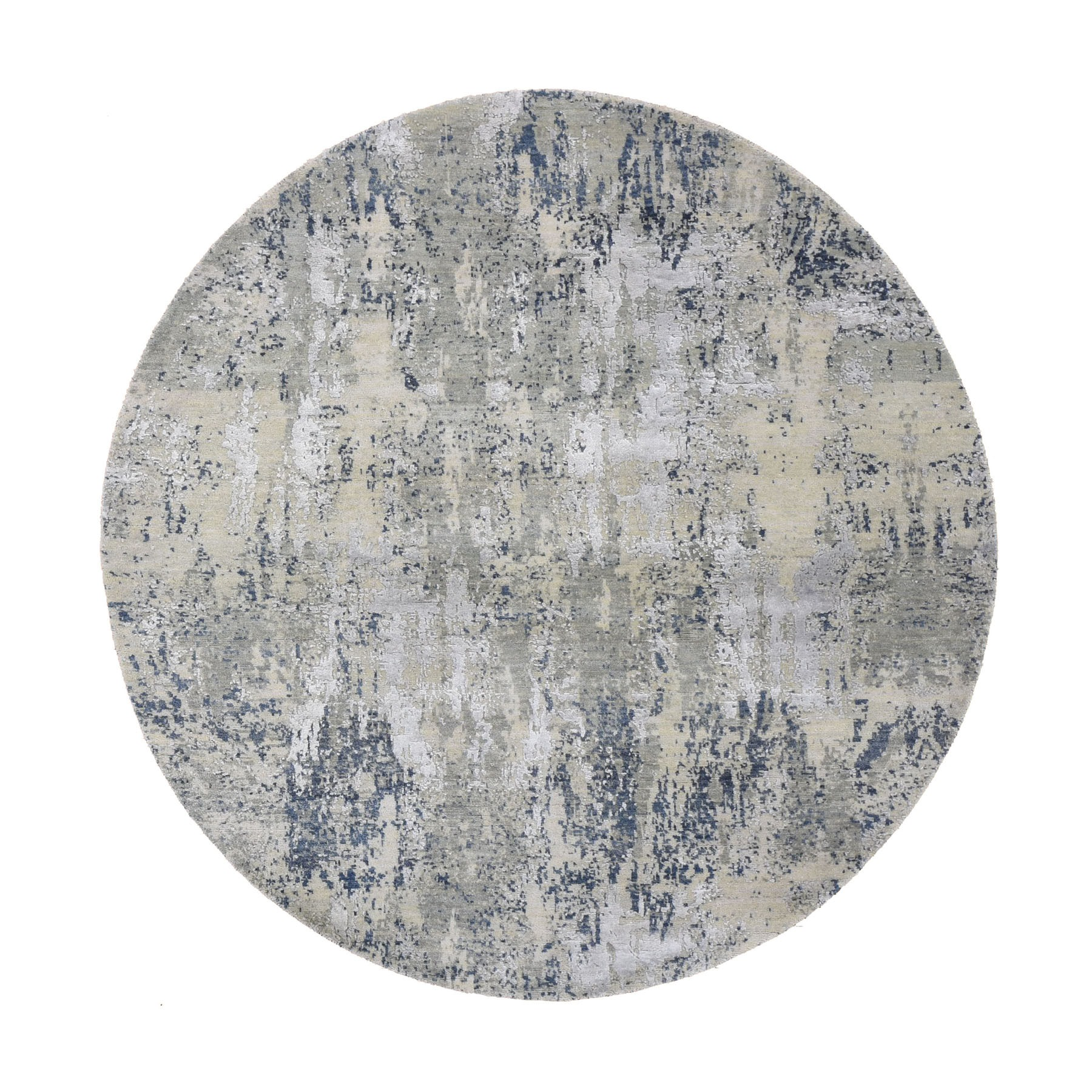 "6'1""x6'1"" Gray Abstract Design Wool And Pure Silk Hand Knotted Round Oriental Rug"
