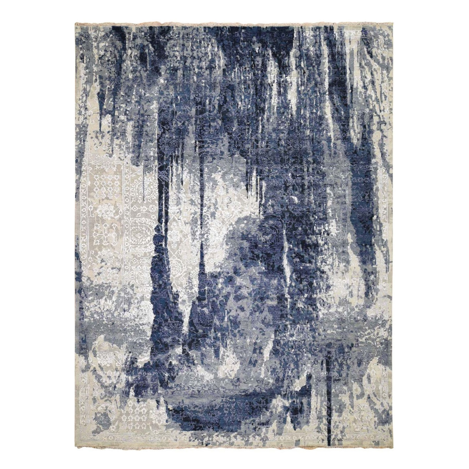 "9'x11'9"" Wool And Silk Shibori Design Tone On Tone Hand Knotted Oriental Rug"