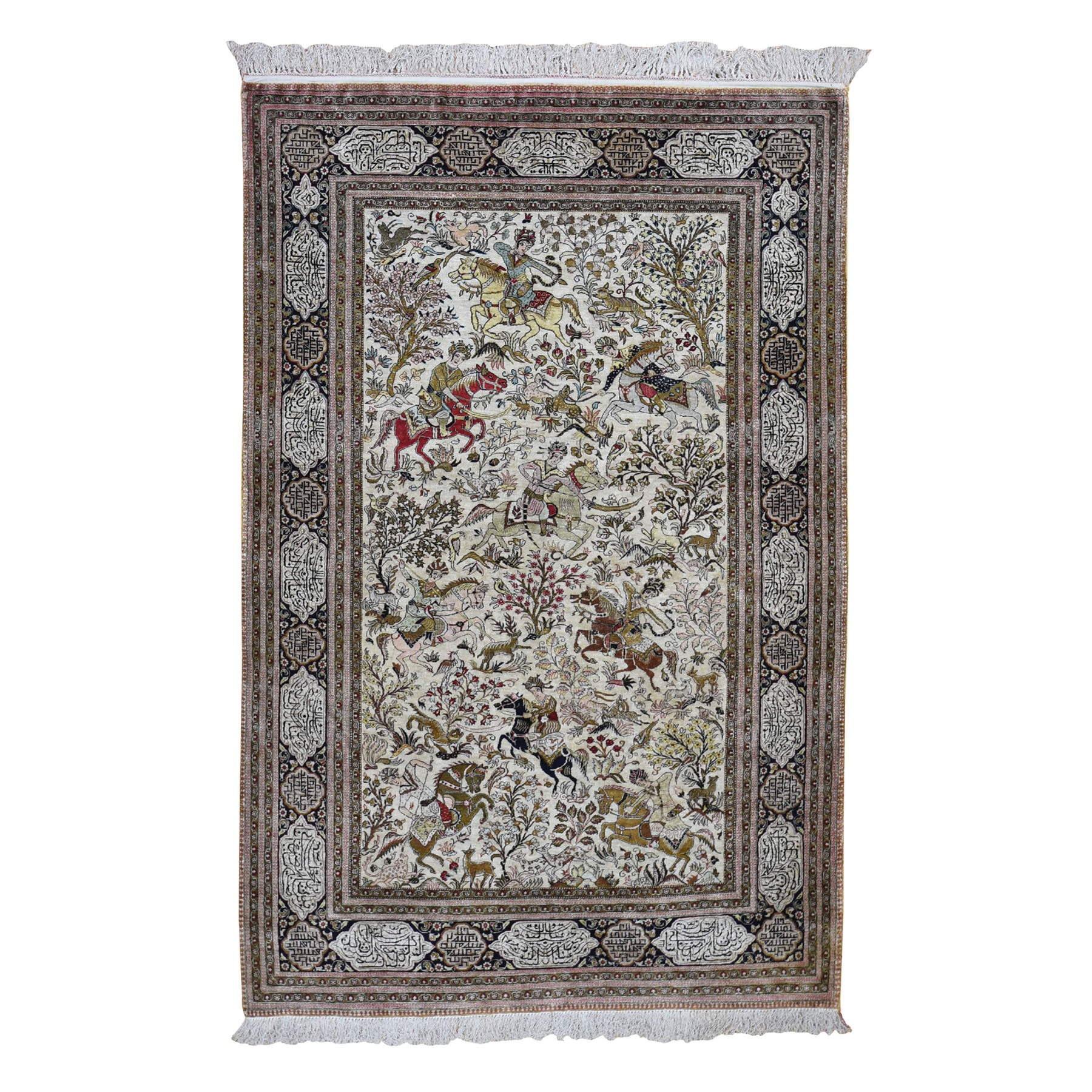 "4'6""X7'5"" Ivory Vintage Persian Silk Qum 500 Kpsi Hunting Design, Poetry Hand Knotted Oriental Rug moad78bd"