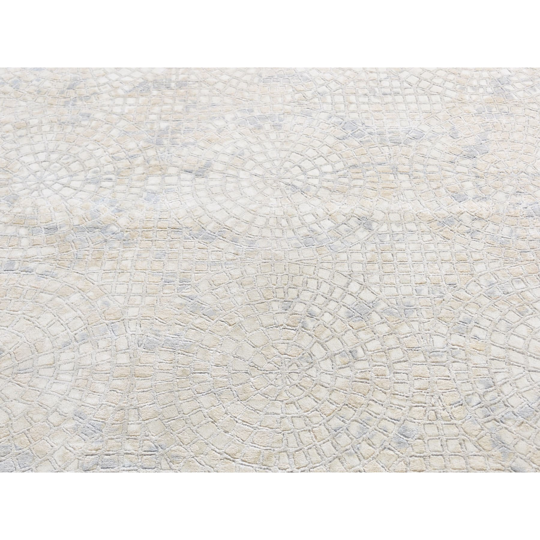 10-x14-2  Hand Knotted Wool And Pure Silk Mosaic Design Oriental Rug
