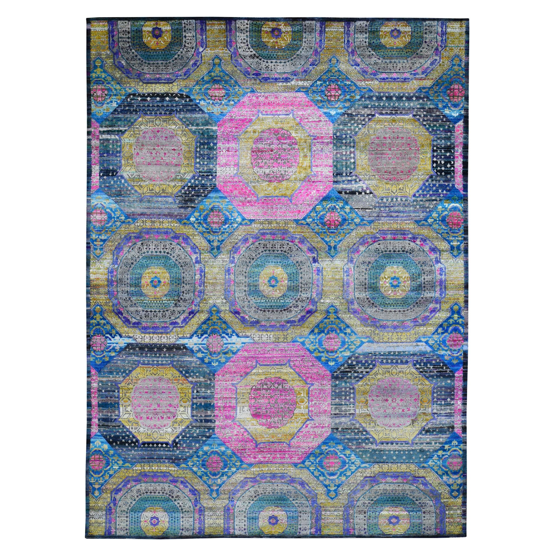 """9'1""""x12'5"""" Colorful Mamluk Design Sari Silk With Textured Wool Hand Knotted Oriental Rug"""