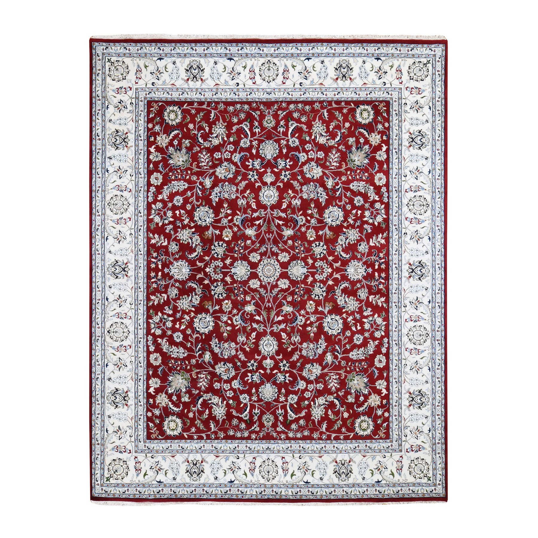 8'x10' Red Wool and Silk All Over Design Nain 250 KPSI Hand Knotted Oriental Rug