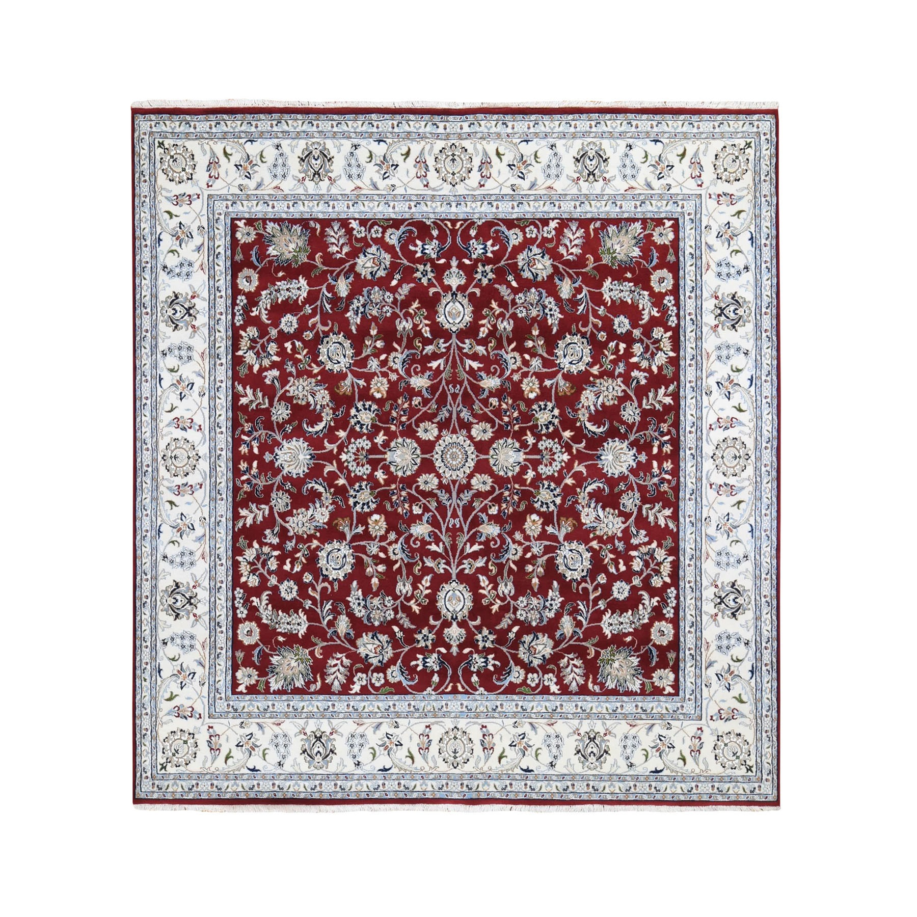 8'X8' Square Red Wool And Silk All Over Design Nain 250 Kpsi Hand Knotted Oriental Rug moad78b8