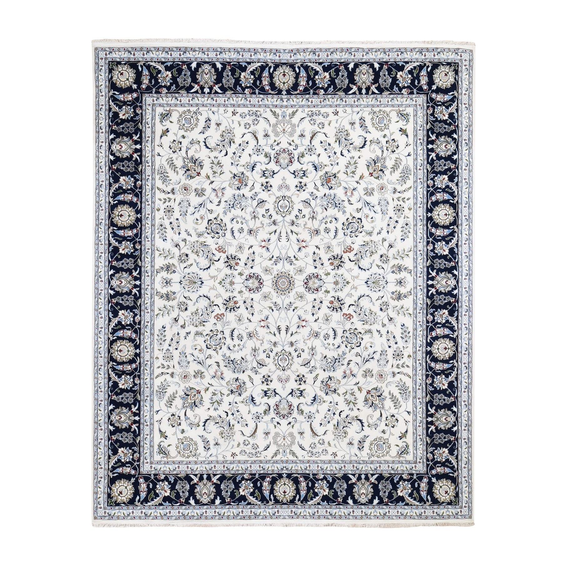 8'X10' Wool And Silk 250 Kpsi All Over Design Ivory Nain Hand Knotted Oriental Rug moad78b9