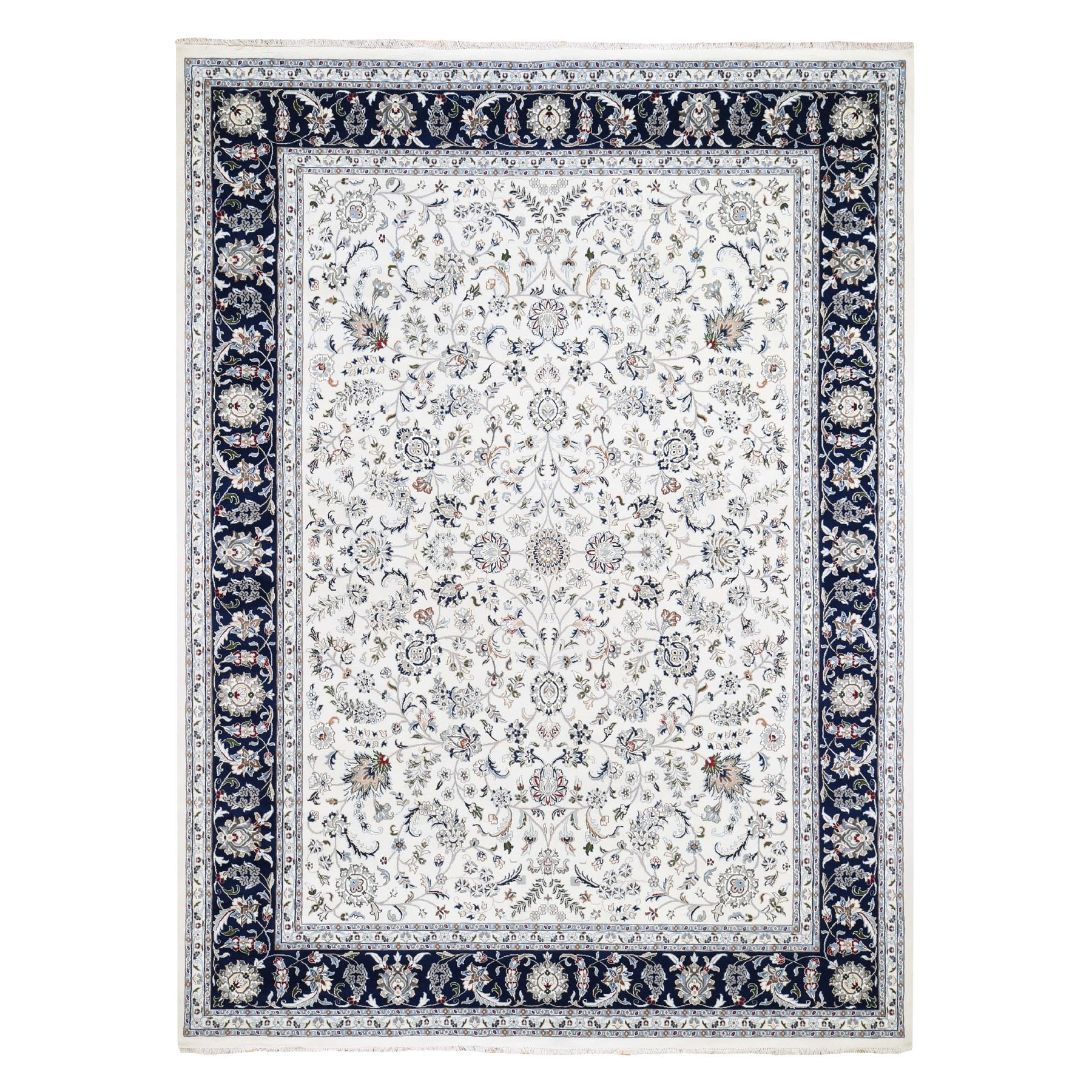 "8'8""X11'9"" Wool And Silk 250 Kpsi All Over Design Ivory Nain Hand Knotted Oriental Rug moad78c0"