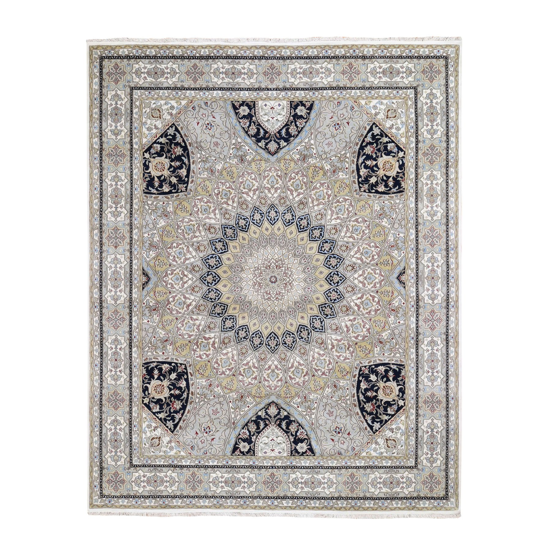 "8'3""X10'2"" Gray Nain With Gumbad Design Wool And Silk Hand Knotted Oriental Rug moad78ca"