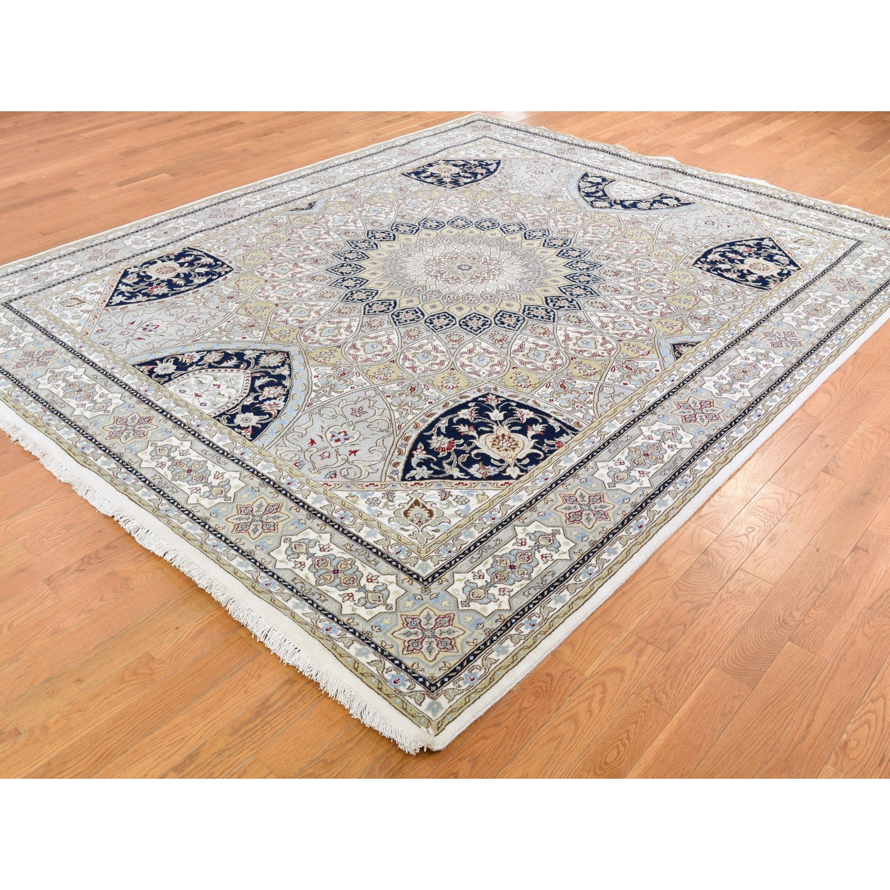 8-3 x10-2  Gray Nain With Gumbad Design Wool and Silk Hand Knotted Oriental Rug