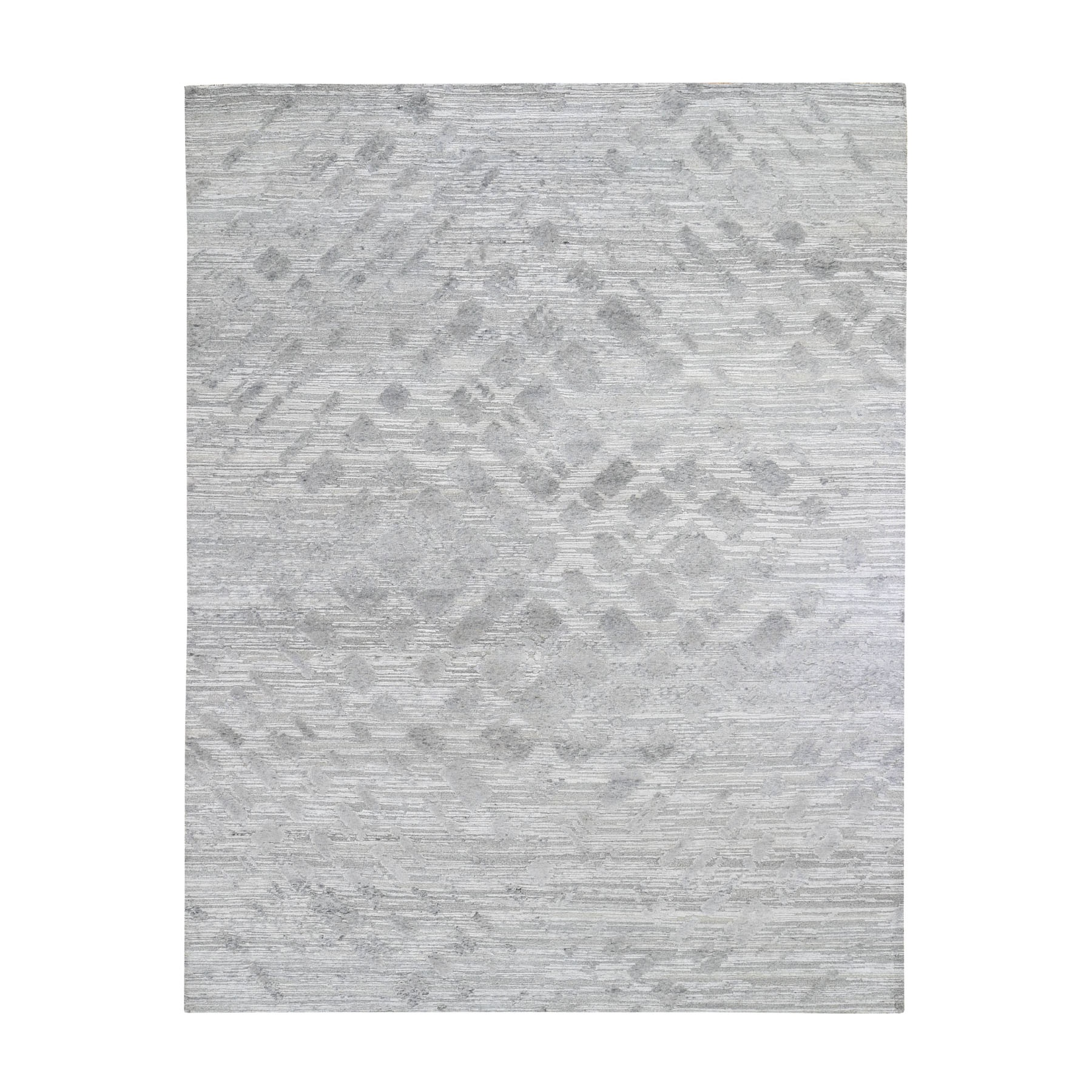"""8'2""""X10'2"""" Silver Hand Spun Undyed Natural Wool Modern Hand Knotted Oriental Rug moad78cb"""