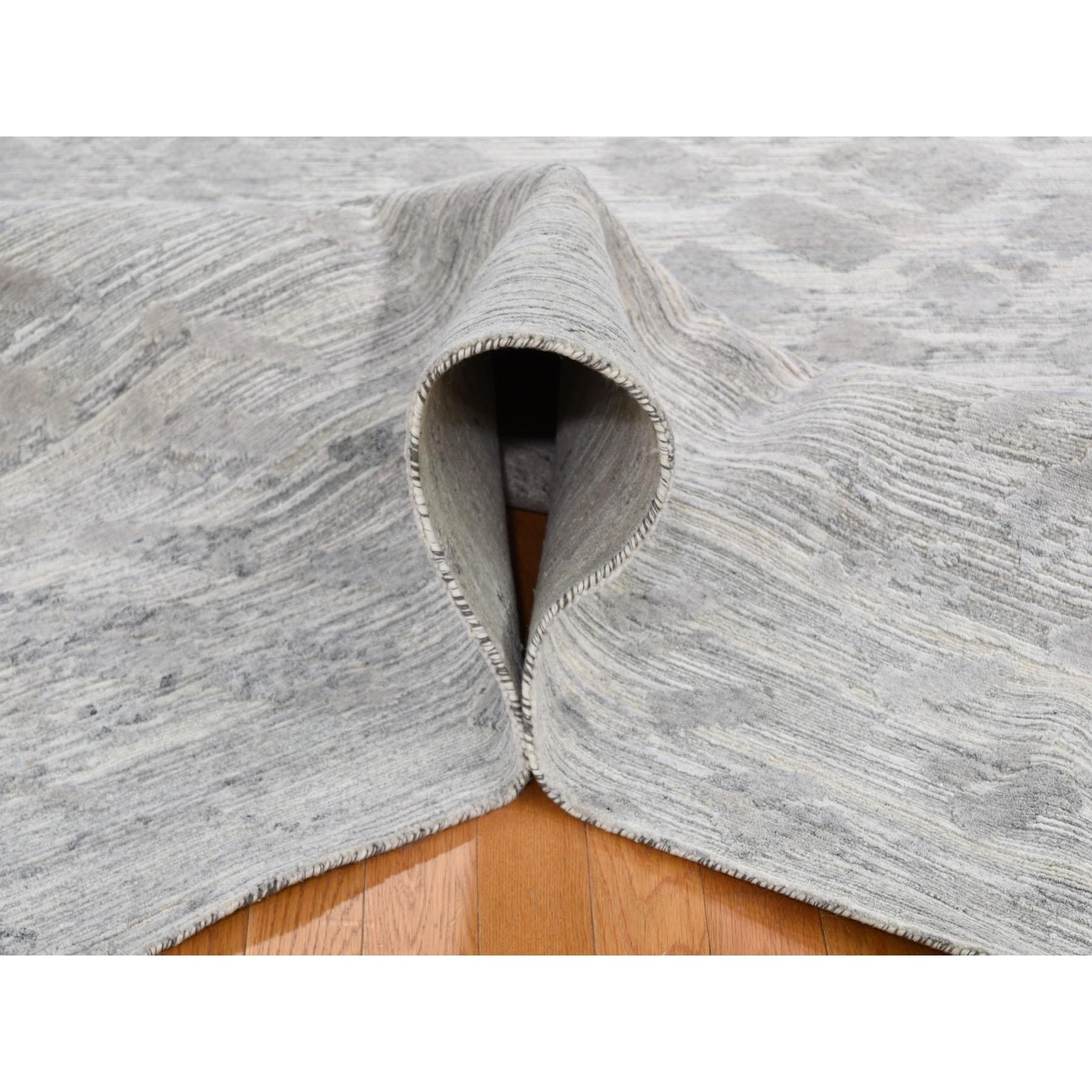 "8'2""x10' Silver Hand Spun Undyed Natural Wool Modern Hand Knotted Oriental Rug"