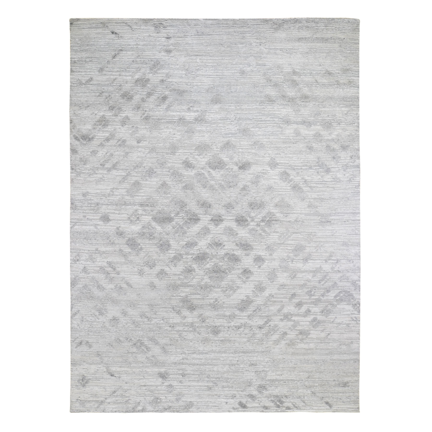 """8'10""""X12' Silver Hand Spun Undyed Natural Wool Modern Hand Knotted Oriental Rug moad78ce"""