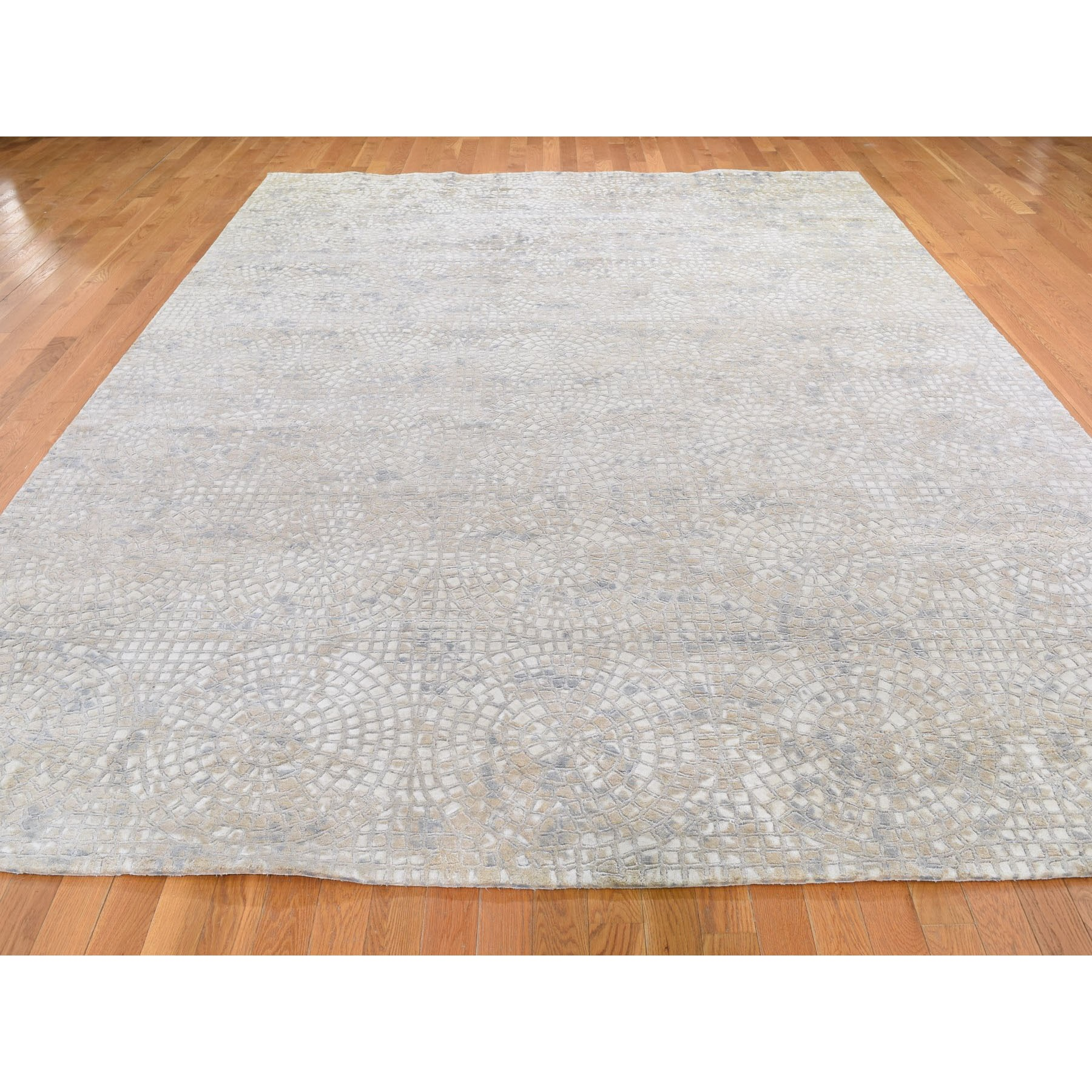 9-x12-2  Hand Knotted Wool And Pure Silk Mosaic Design Oriental Rug