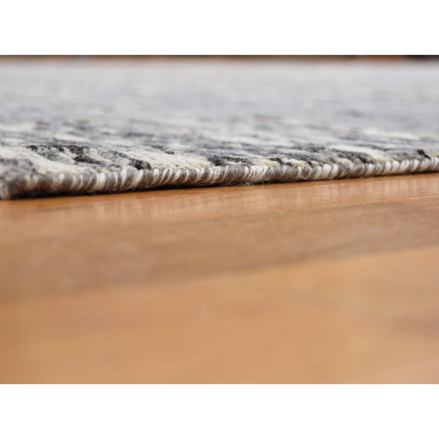 "8'1""x10' Hand Spun Undyed Natural Wool Gray Modern Oriental Hand Knotted Oriental Rug"
