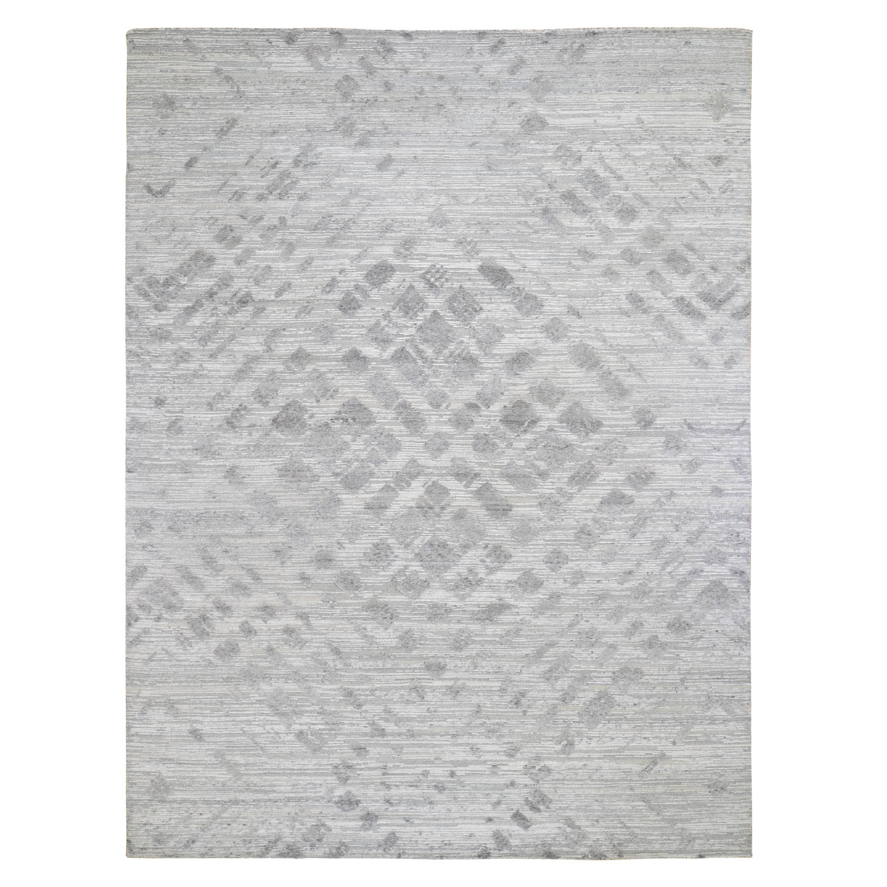 "9'2""X12'1"" Silver Hand Spun Undyed Natural Wool Modern Hand Knotted Oriental Rug moad78c9"