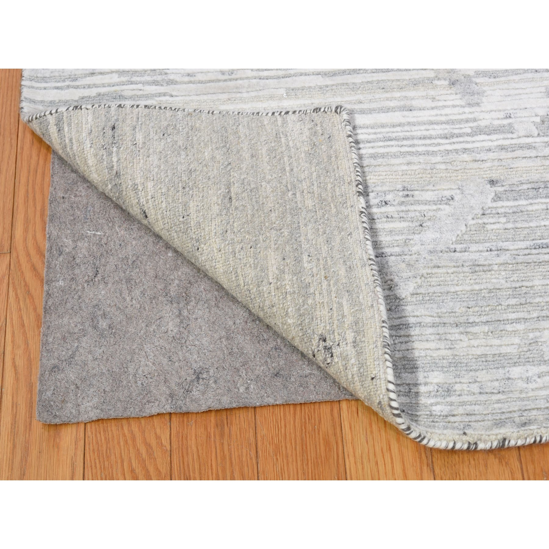 "9'2""x12'1"" Silver Hand Spun Undyed Natural Wool Modern Hand Knotted Oriental Rug"
