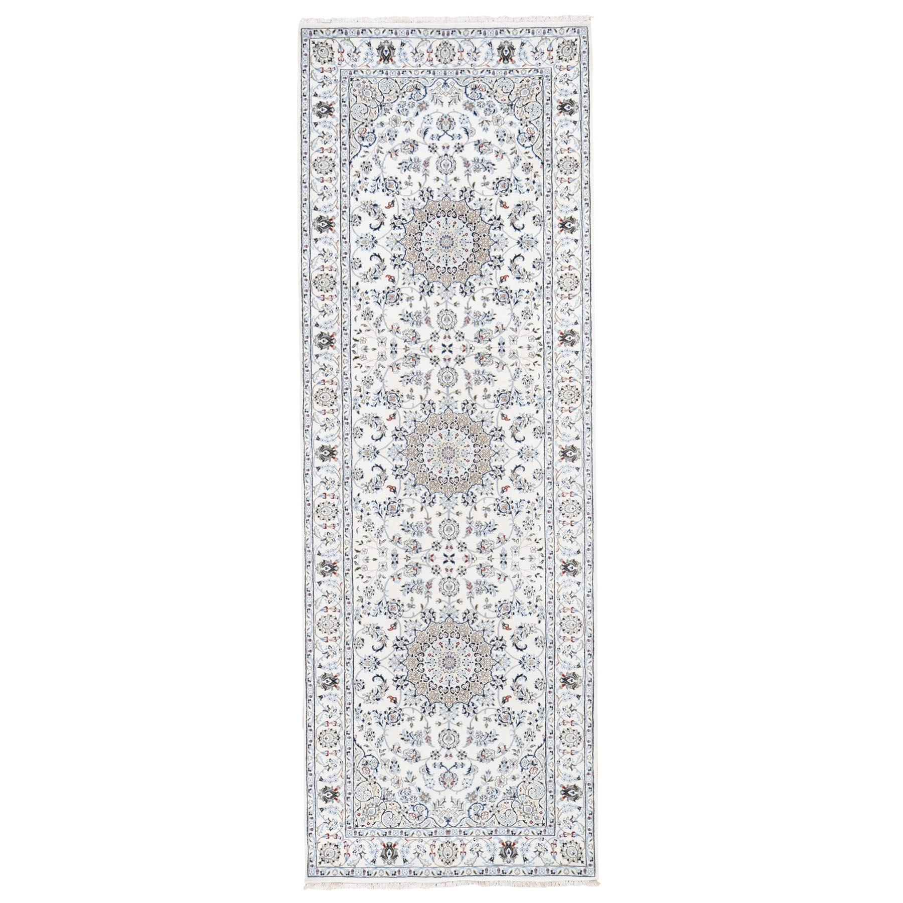 4'X12' Ivory Wide Runner Nain Wool And Silk 250 Kpsi Hand Knotted Oriental Rug moad78db
