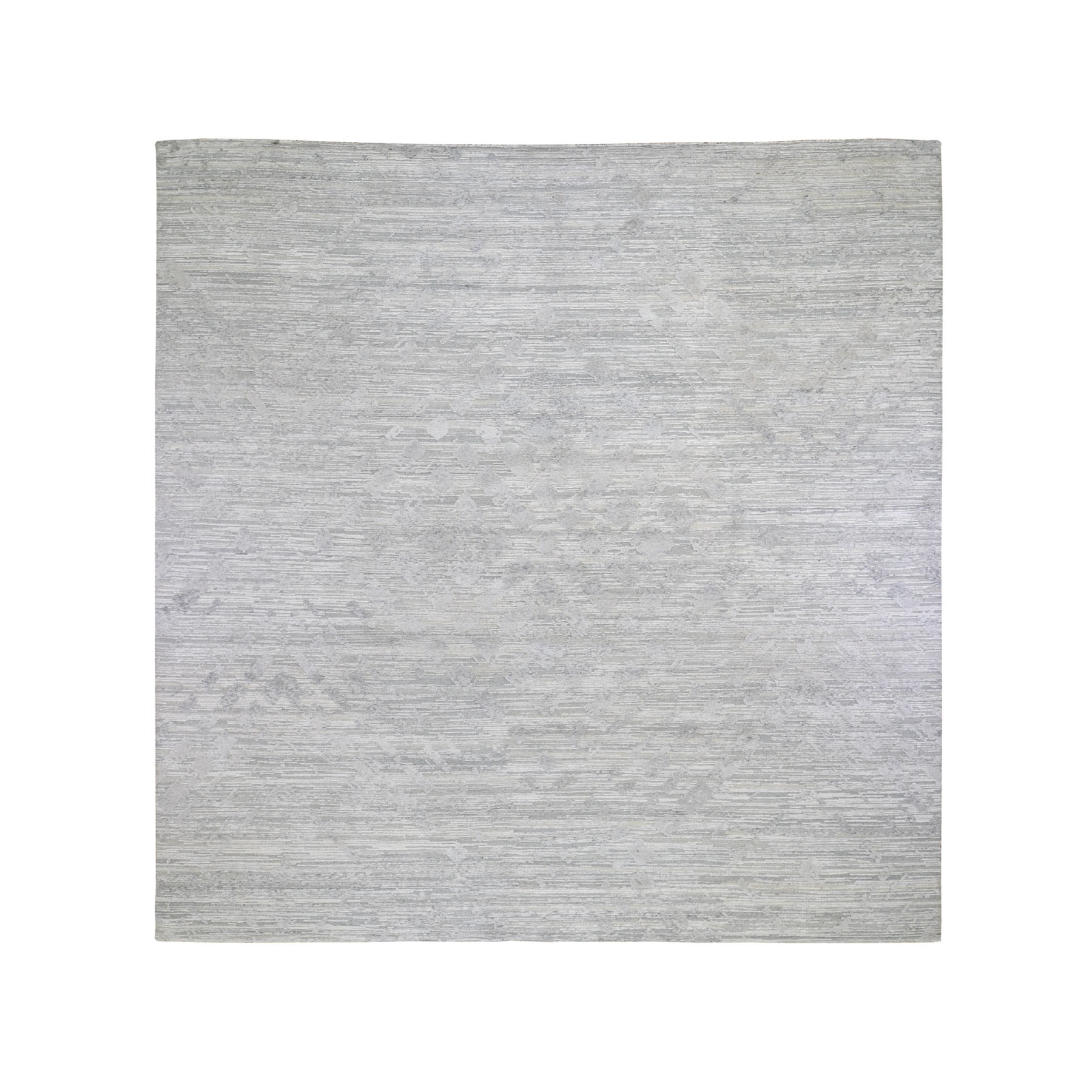"12'2""X12'2"" Square Silver Hand Spun Undyed Natural Wool Modern Hand Knotted Oriental Rug moad78dc"
