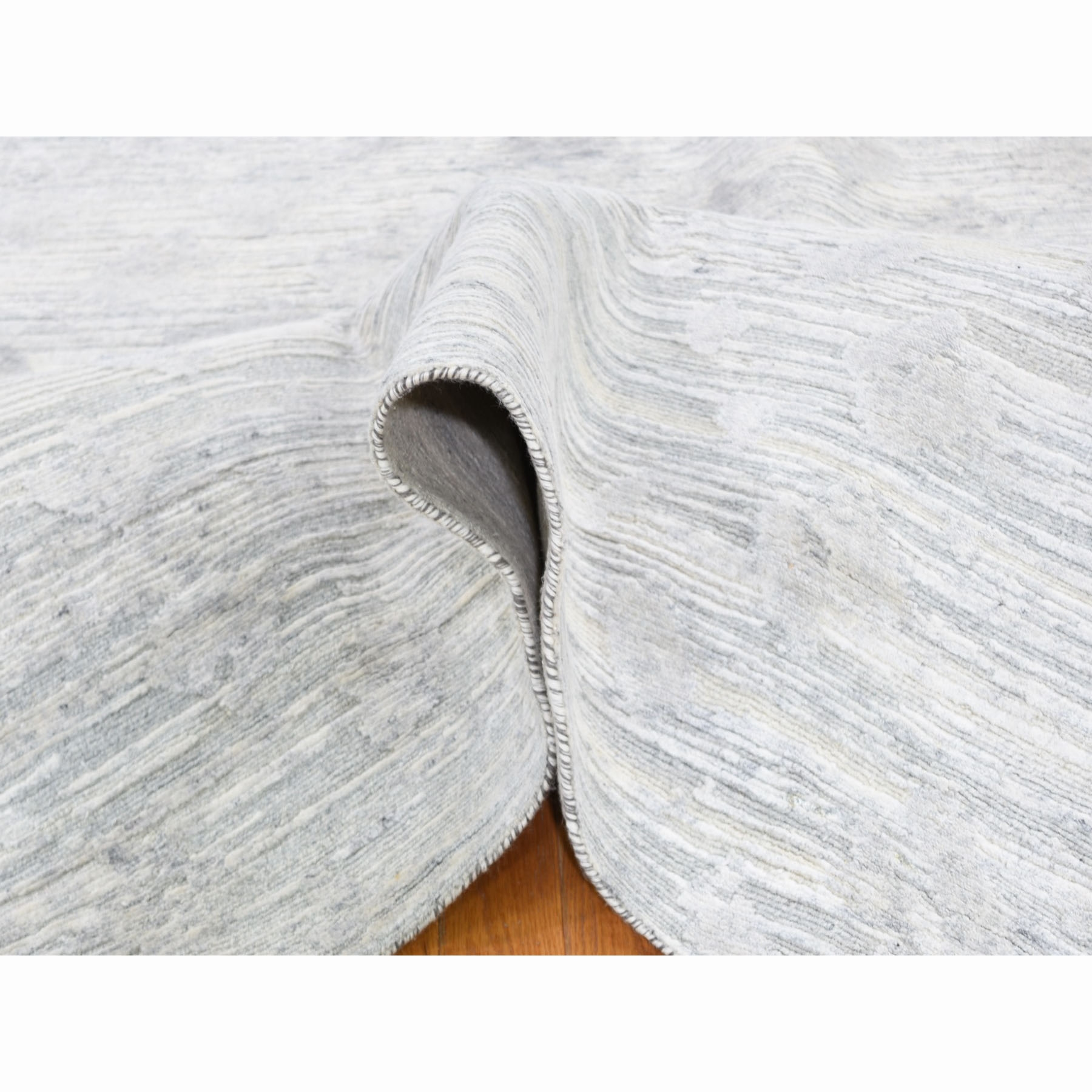 """12'2""""x2'2"""" Square Silver Hand Spun Undyed Natural wool Modern Hand Knotted Oriental Rug"""