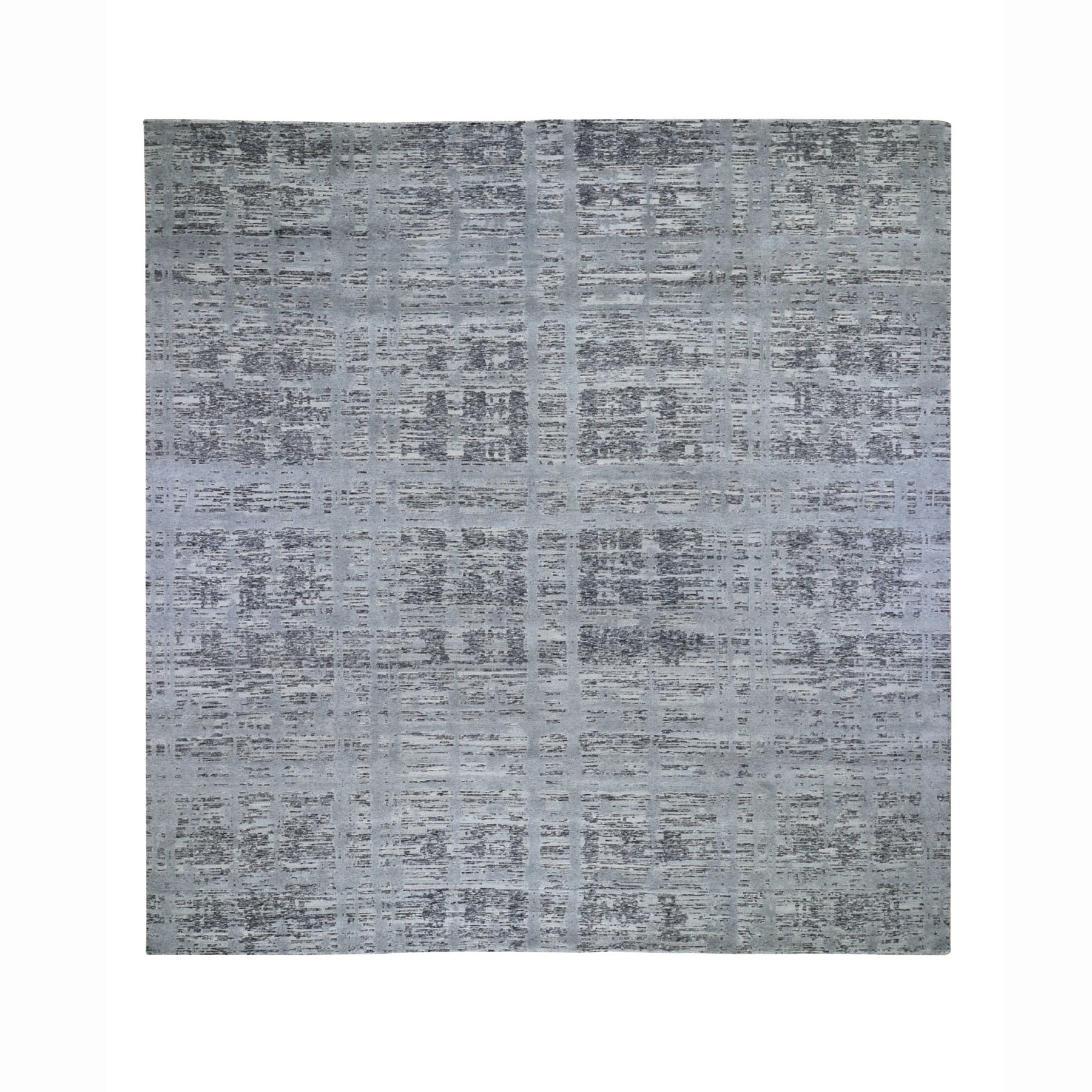 "12'3""X12'3"" Square Hand Spun Undyed Natural Wool Gray Modern Oriental Hand Knotted Oriental Rug moad78de"
