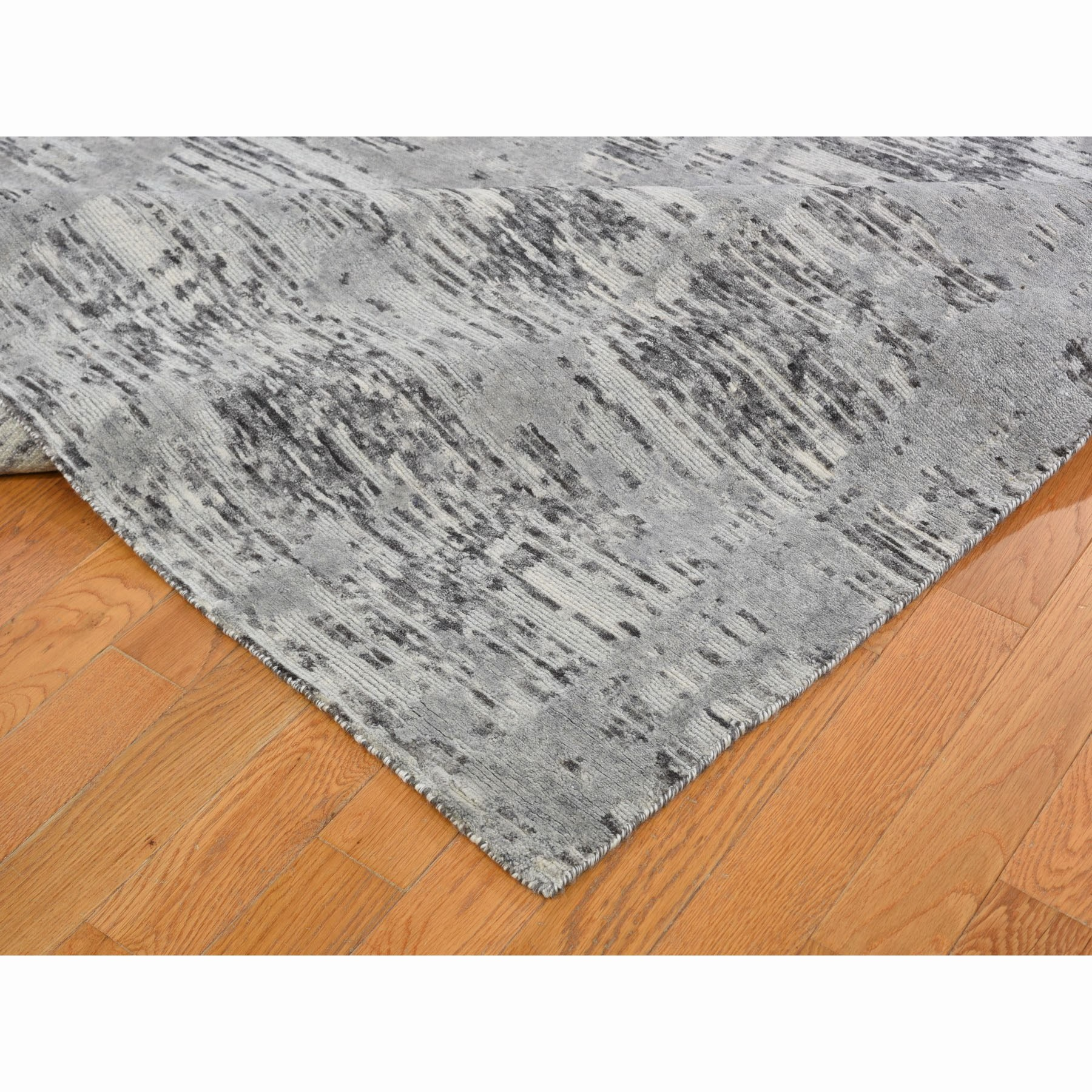"""12'3""""x12'3"""" Square Hand Spun Undyed Natural Wool Gray Modern Oriental Hand Knotted Oriental Rug"""