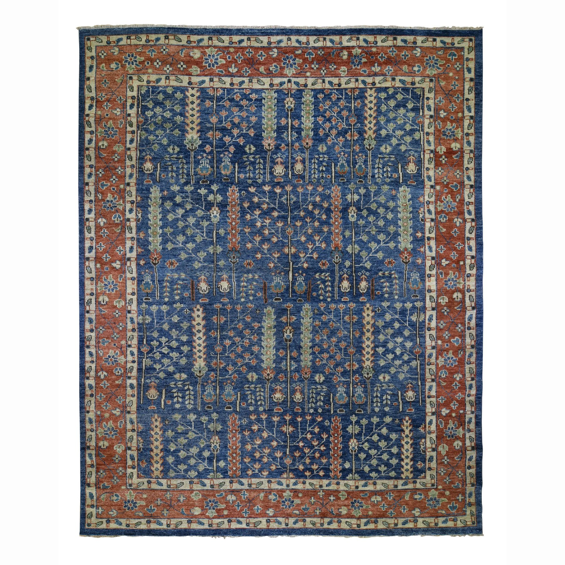 12'X15' Oversized Navy Blue Supple Collection With Tree Design Soft Wool Hand Knotted Oriental Rug moad78d8