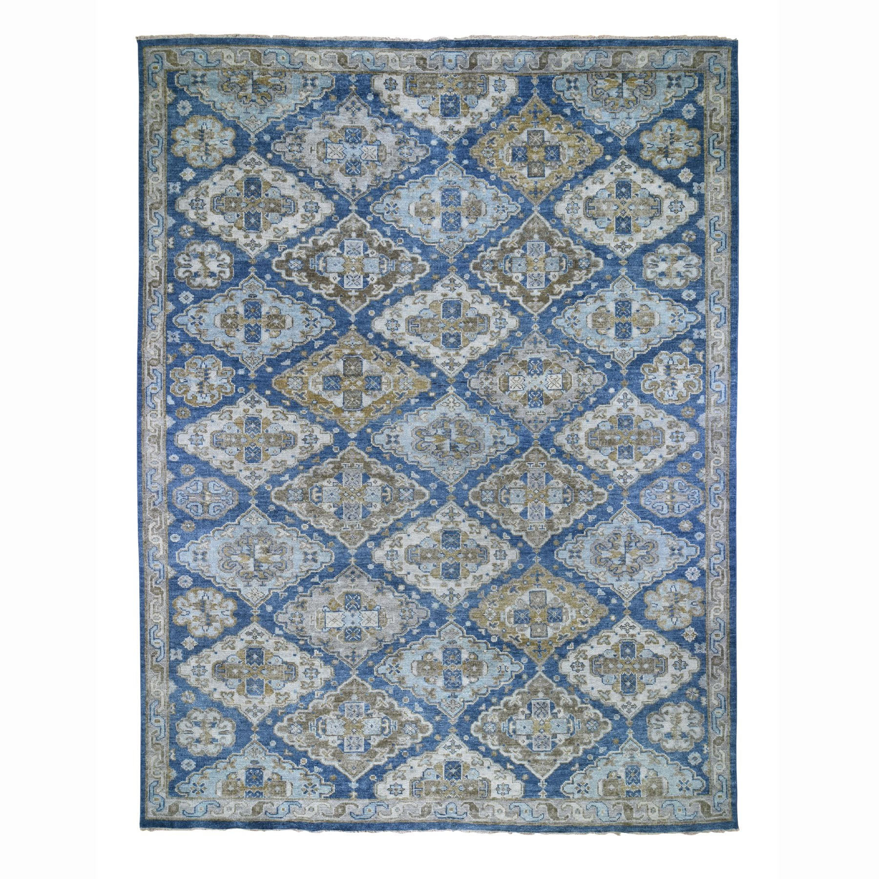 """11'9""""X15' Oversized Blue Supple Collection With Oushak Design Hand Knotted Soft Wool Oriental Rug moad78d9"""