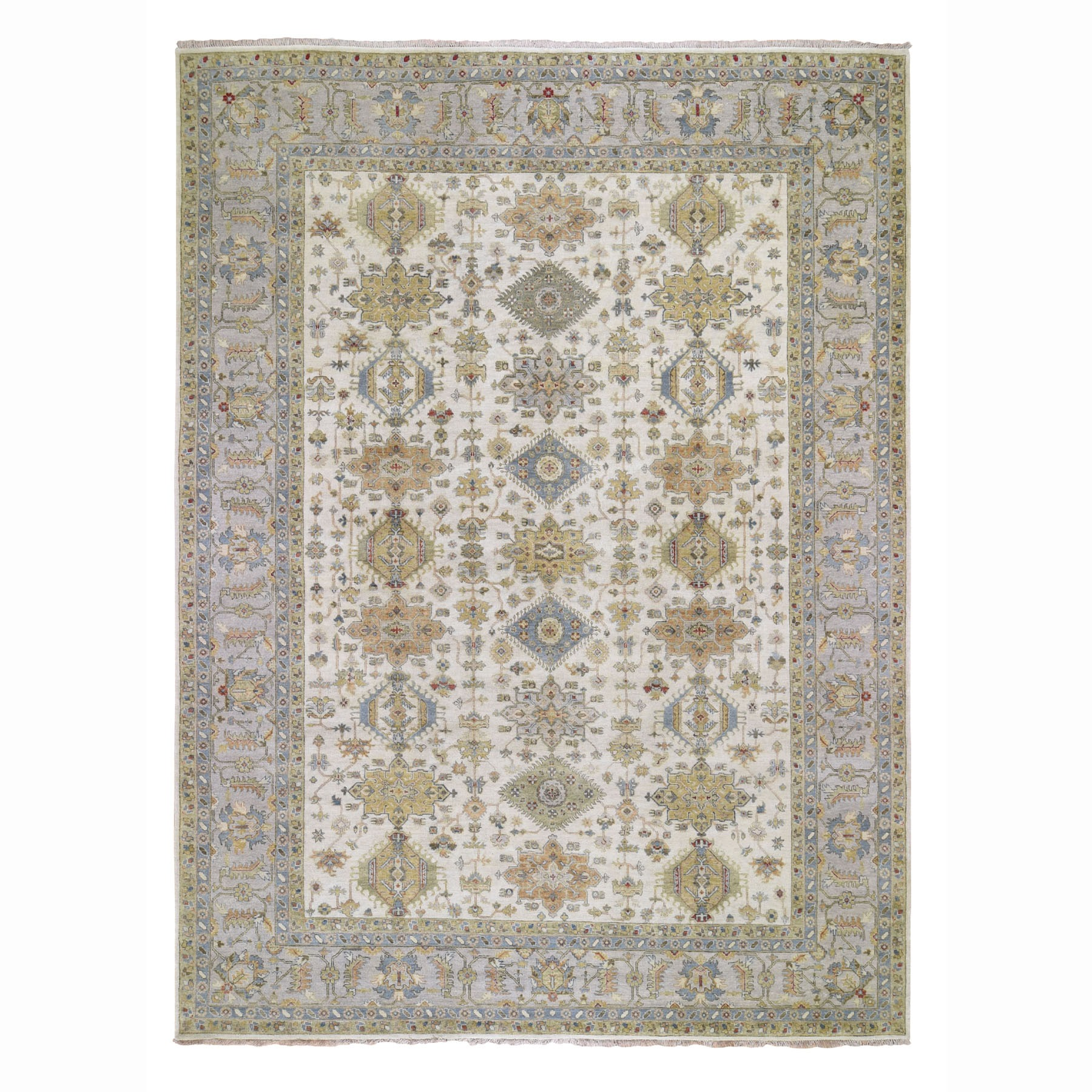 "10'3""X13'10"" Ivory Karajeh Design Pure Wool Hand Knotted Oriental Rug moad78e0"