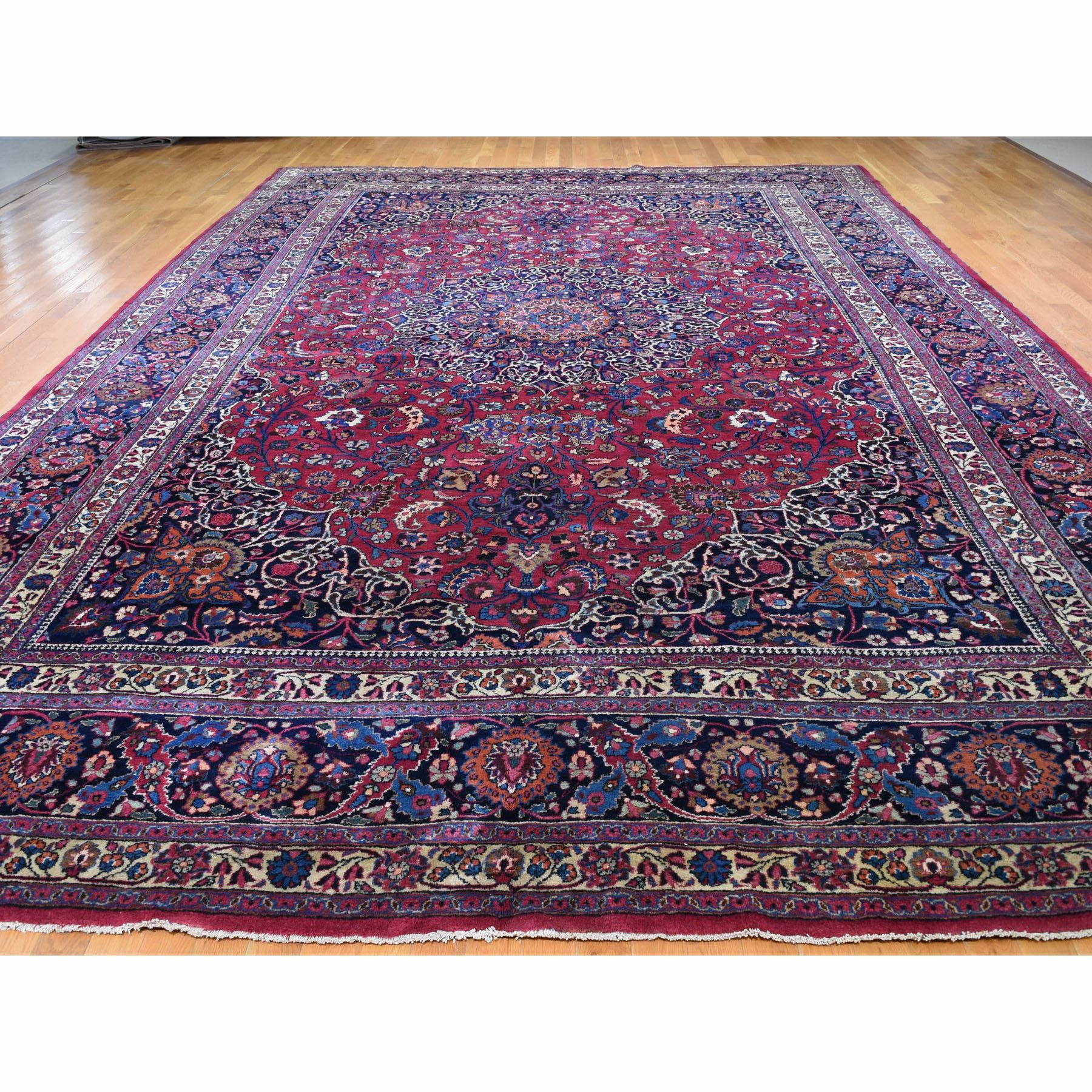 """11'5""""x16'9"""" Red Oversized Vintage Persian Signed Mashad Exc Condition Pure Wool hand Knotted Oriental Rug"""