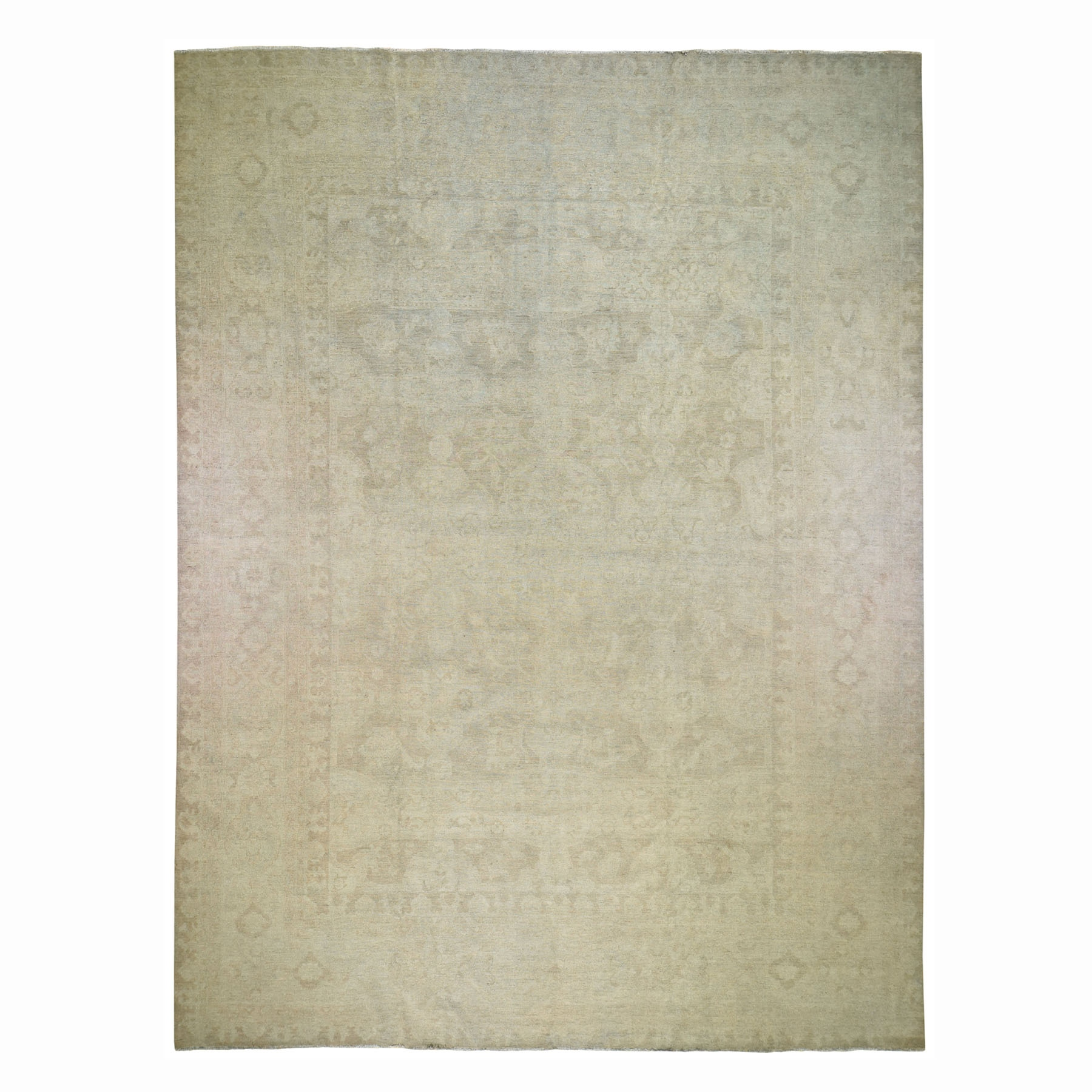 "12'6""X15'4"" Oversize White Wash Peshawar Hand Knotted Pure Wool Oriental Rug moad78eb"
