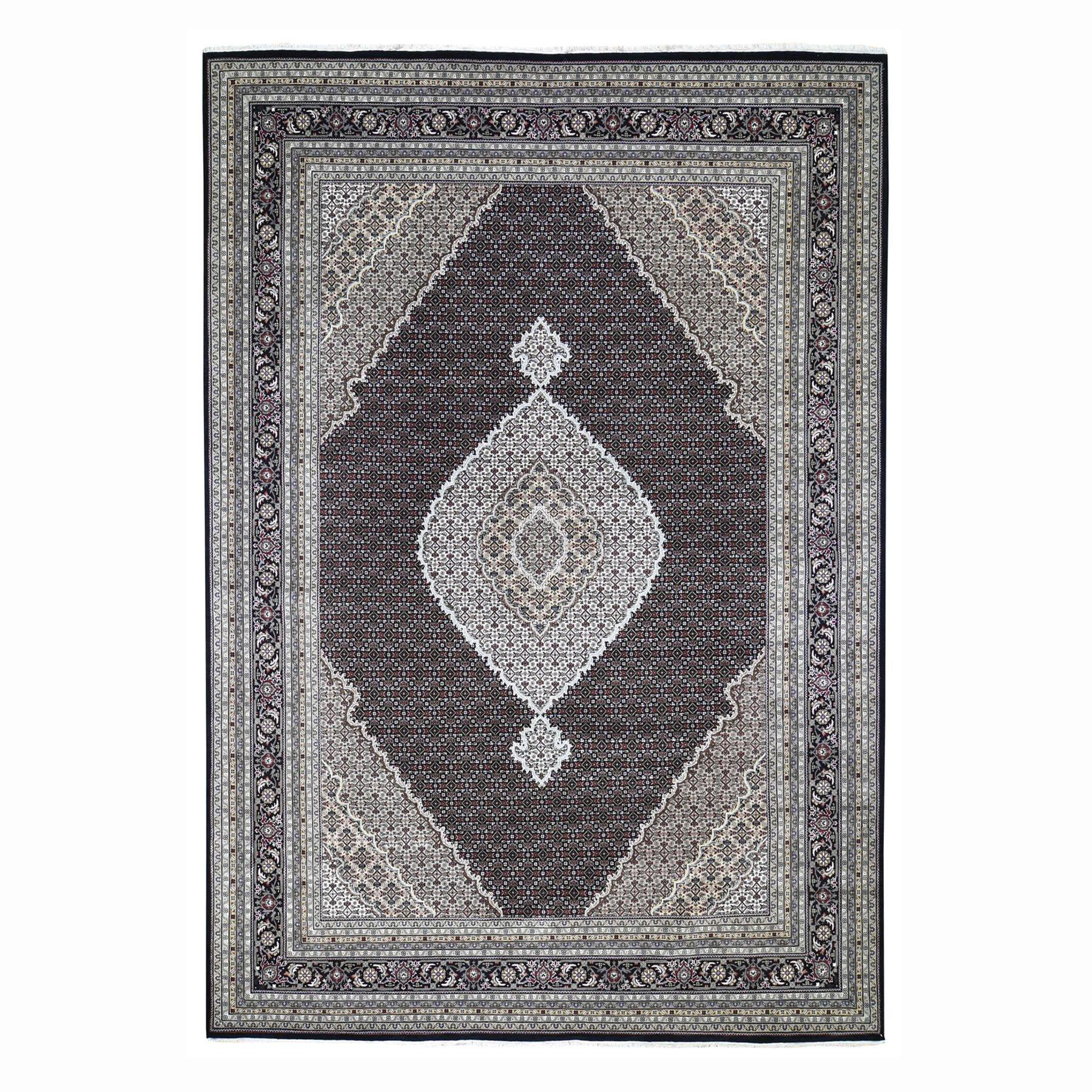 "10'2""X14' Black Tabriz Mahi Wool And Silk Hand Knotted Oriental Rug moad78ec"