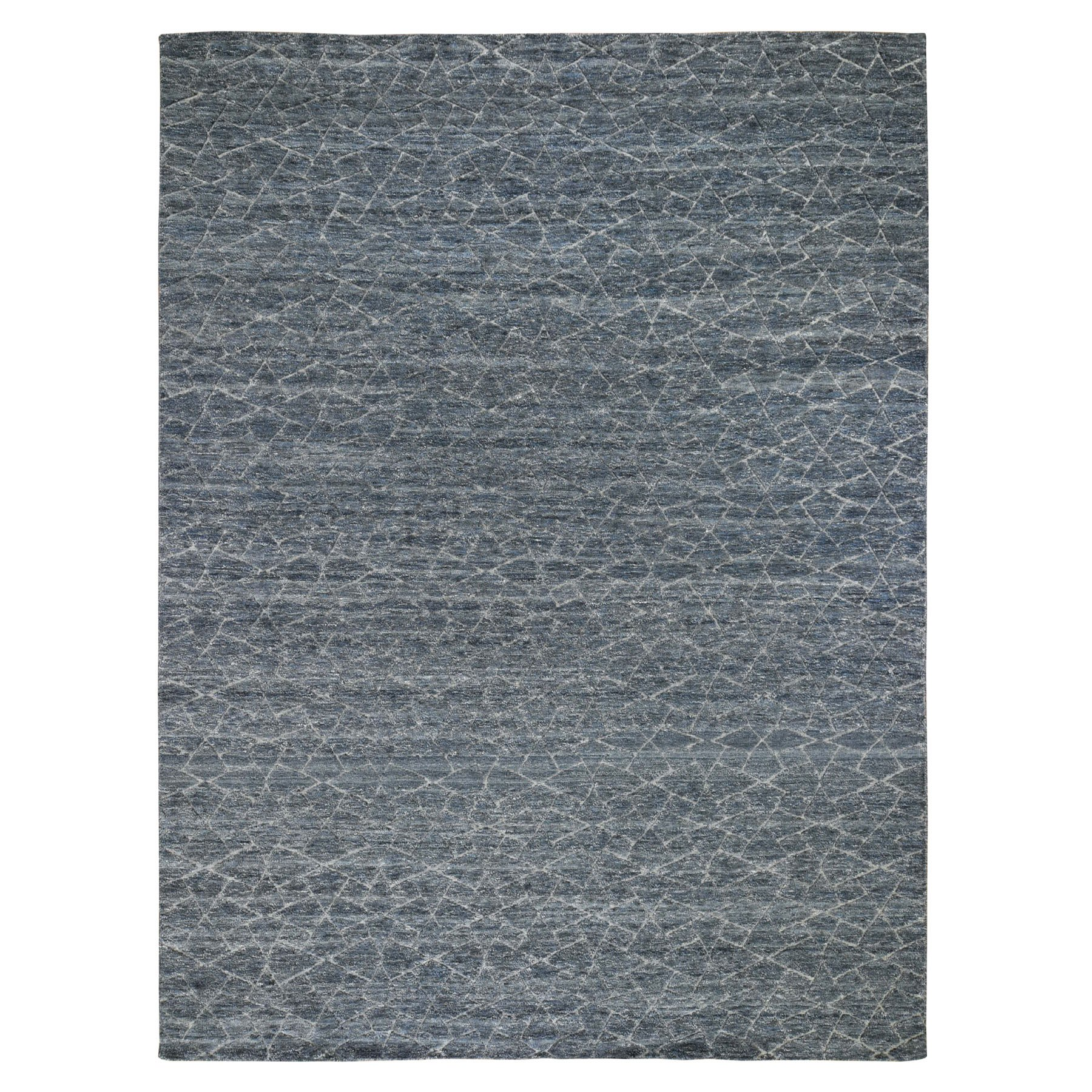 """9'1""""X11'10"""" Pure Wool And Carved Hi Low Pile Modern Hand Knotted Oriental Rug moad78ed"""