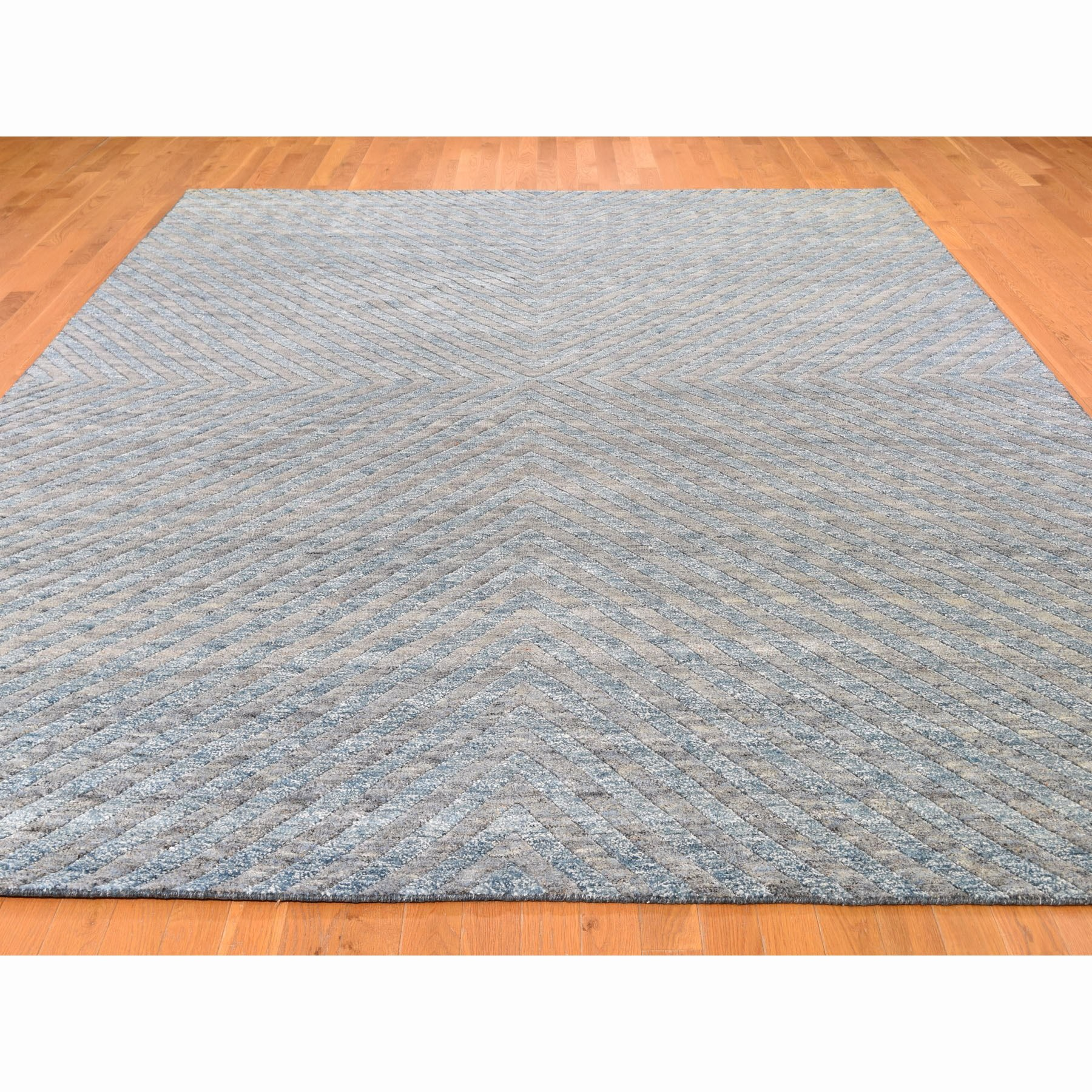 9-1 x11-10  Blue Pure Wool Geometric Design Thick And Plush Hand Knotted Modern Oriental Rug