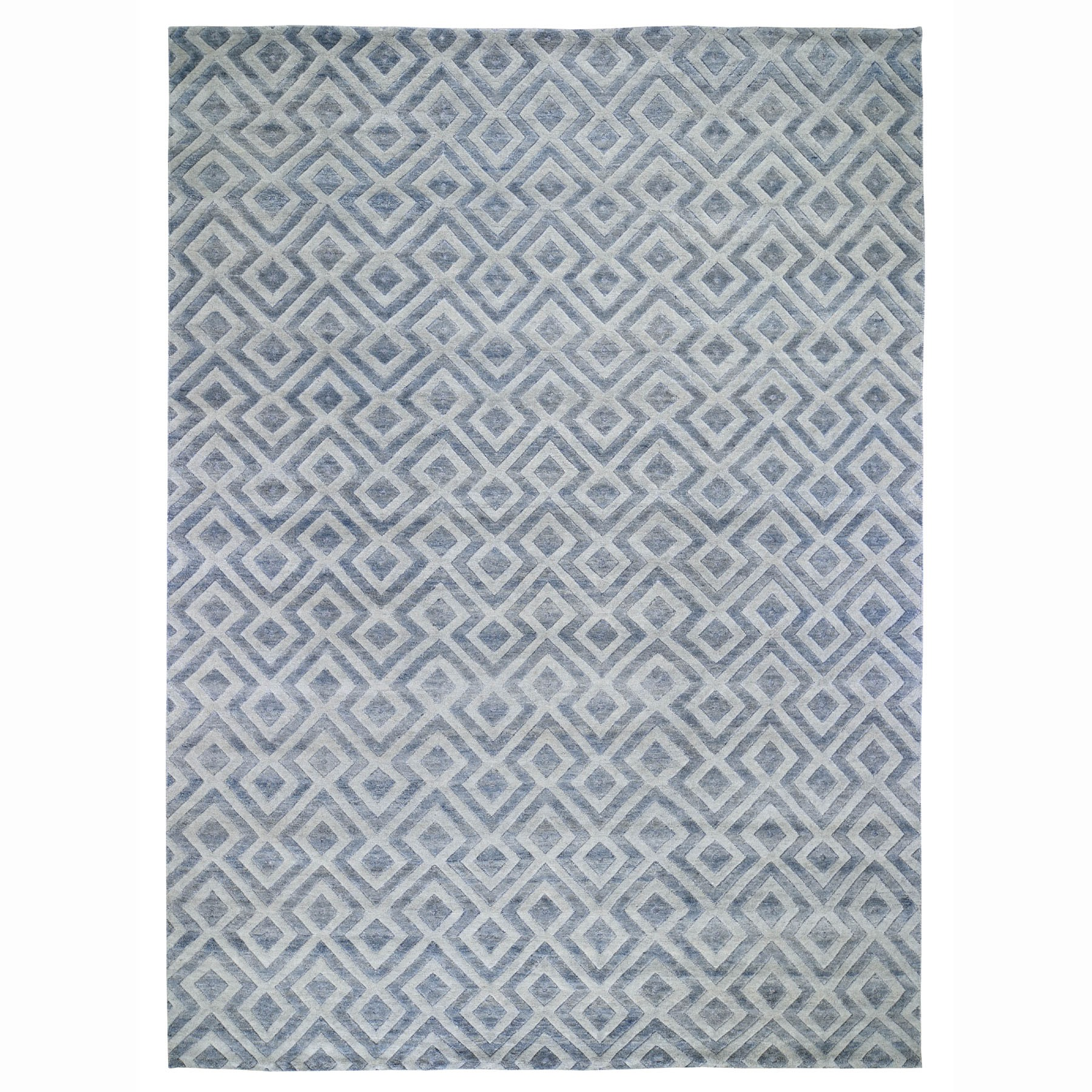 """10'X13'9"""" Blue Pure Wool Geometric Design Thick And Plush Hand Knotted Modern Oriental Rug moad78e7"""