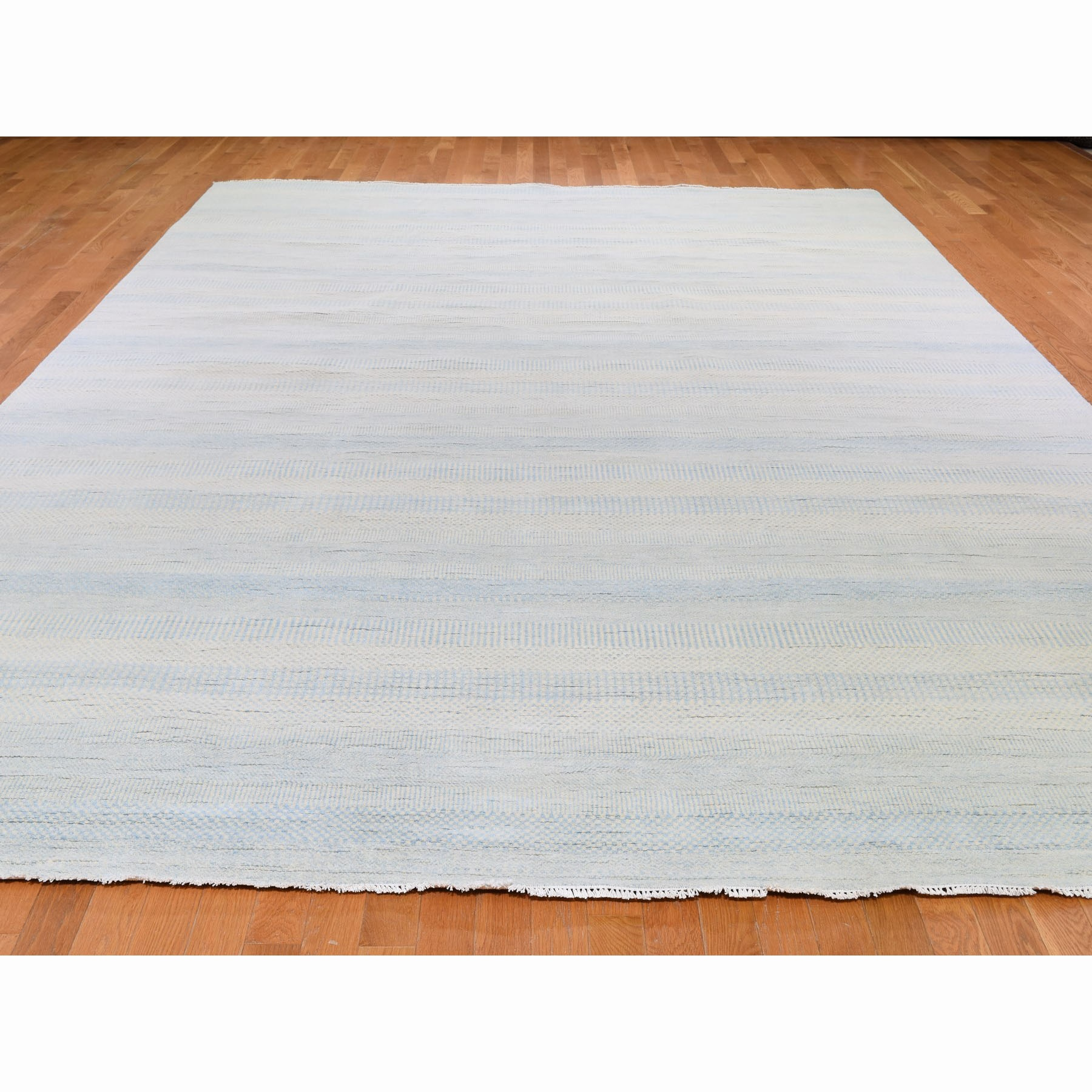 """10'1""""x14' Hand Knotted Wool and Silk Grass Design Oriental Rug"""