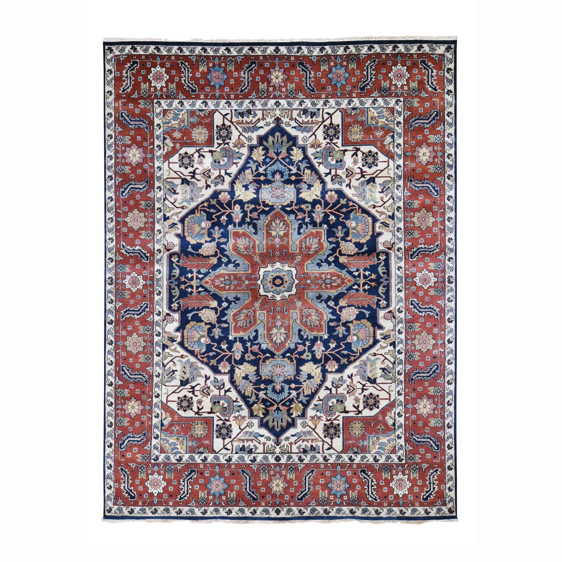 "7'10""X10' Navy Blue Heriz Revival Pure Wool Hand Knotted Oriental Rug moad786d"