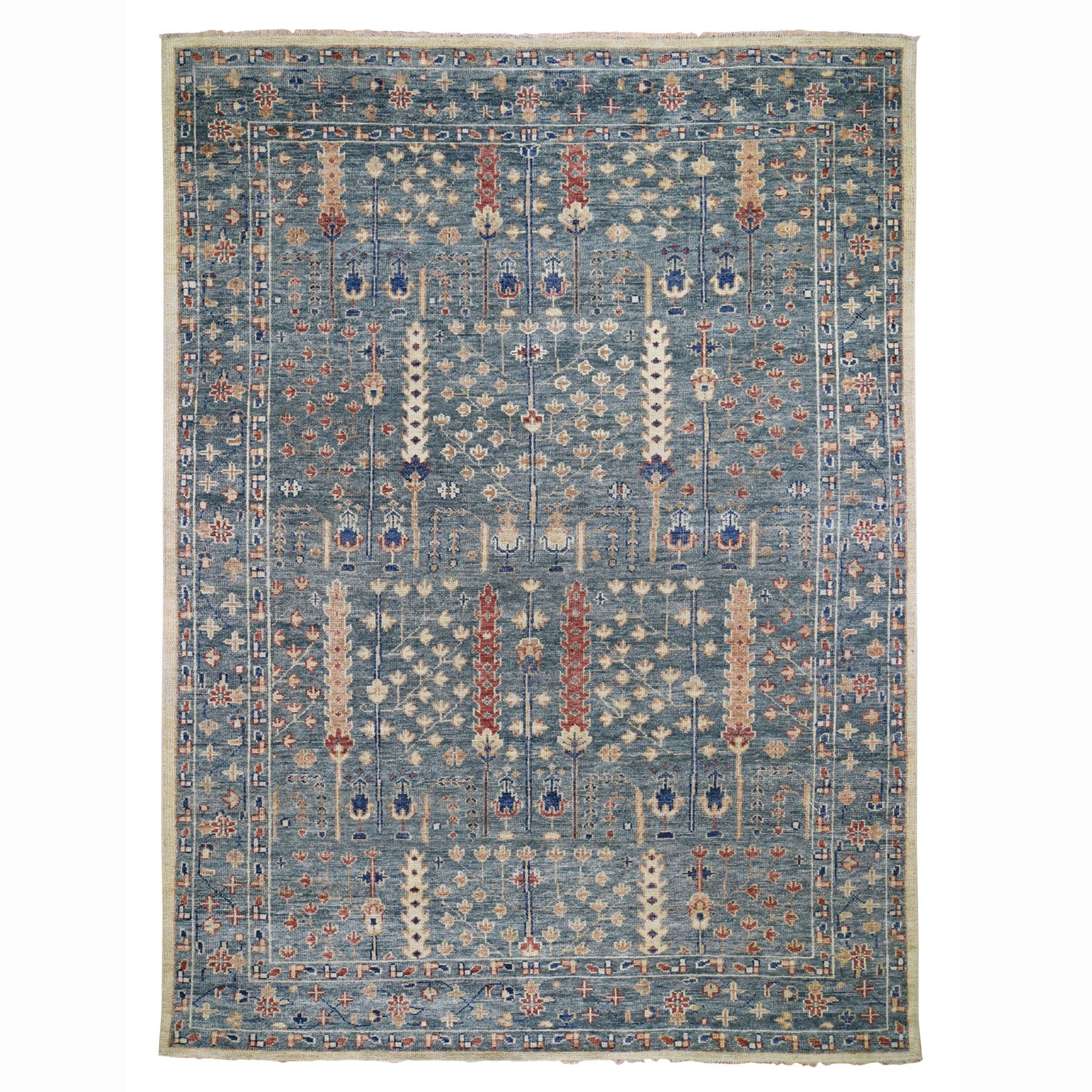 """9'10""""X14' Teal Green Supple Collection With Tree Design Soft Wool Hand Knotted Oriental Rug moad786e"""
