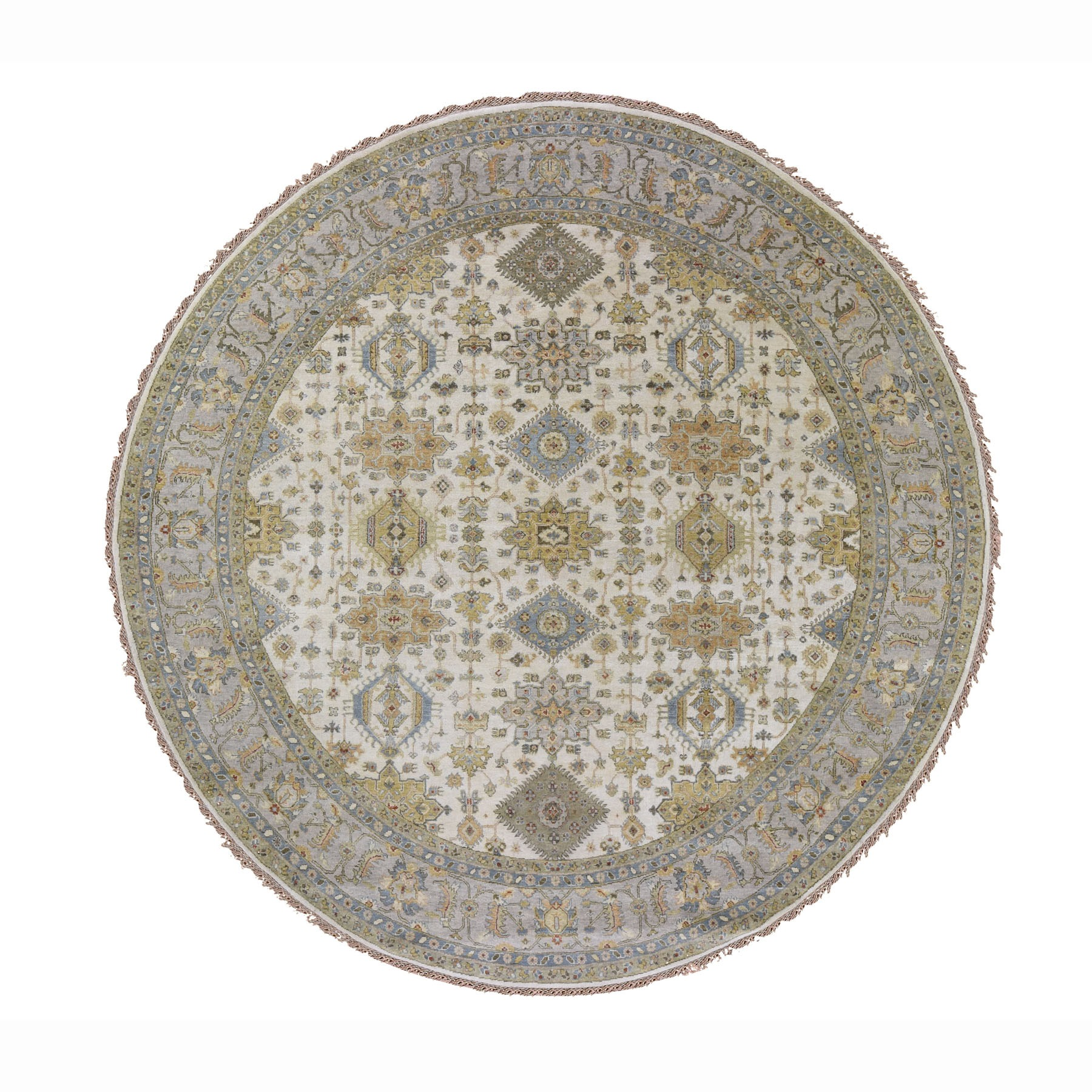 10'X10' Round Ivory Karajeh Design Pure Wool Hand Knotted Oriental Rug moad787a
