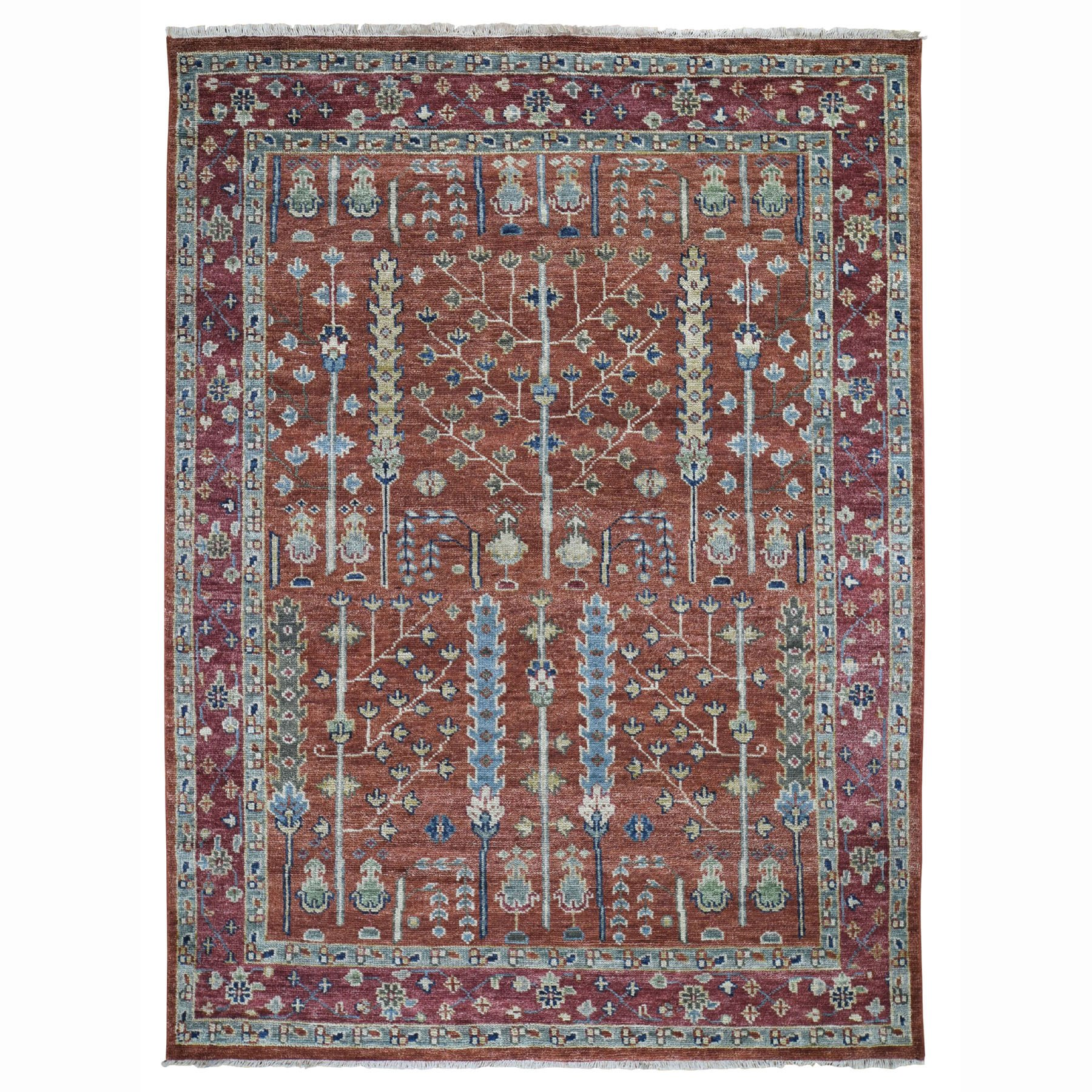 """7'10""""X10'1"""" Red Supple Collection With Tree Design Soft Wool Hand Knotted Oriental Rug moad787b"""