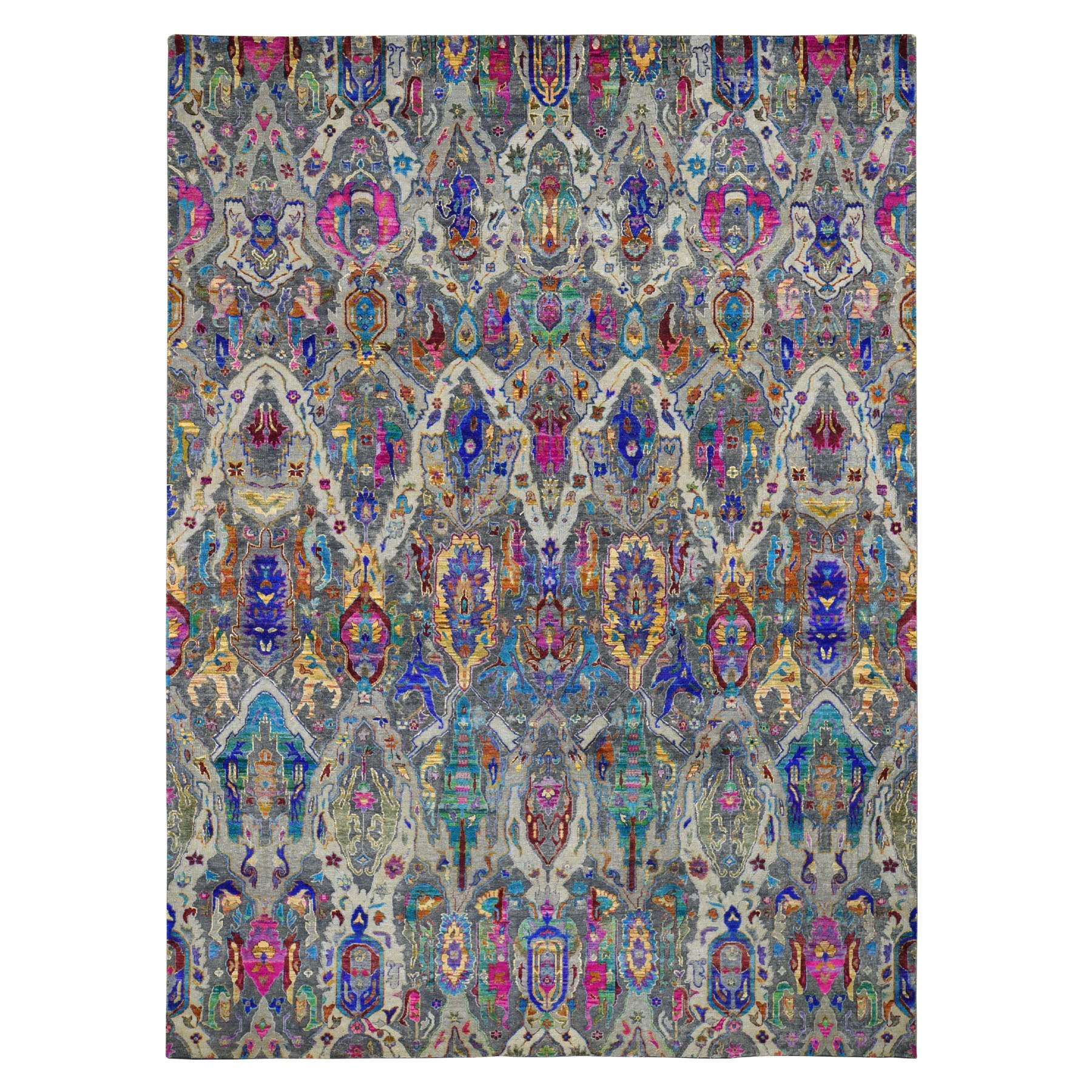 9'X12' The Empress Jewels,Colorful Sari Silk Hand Knotted Oriental Rug moad787c
