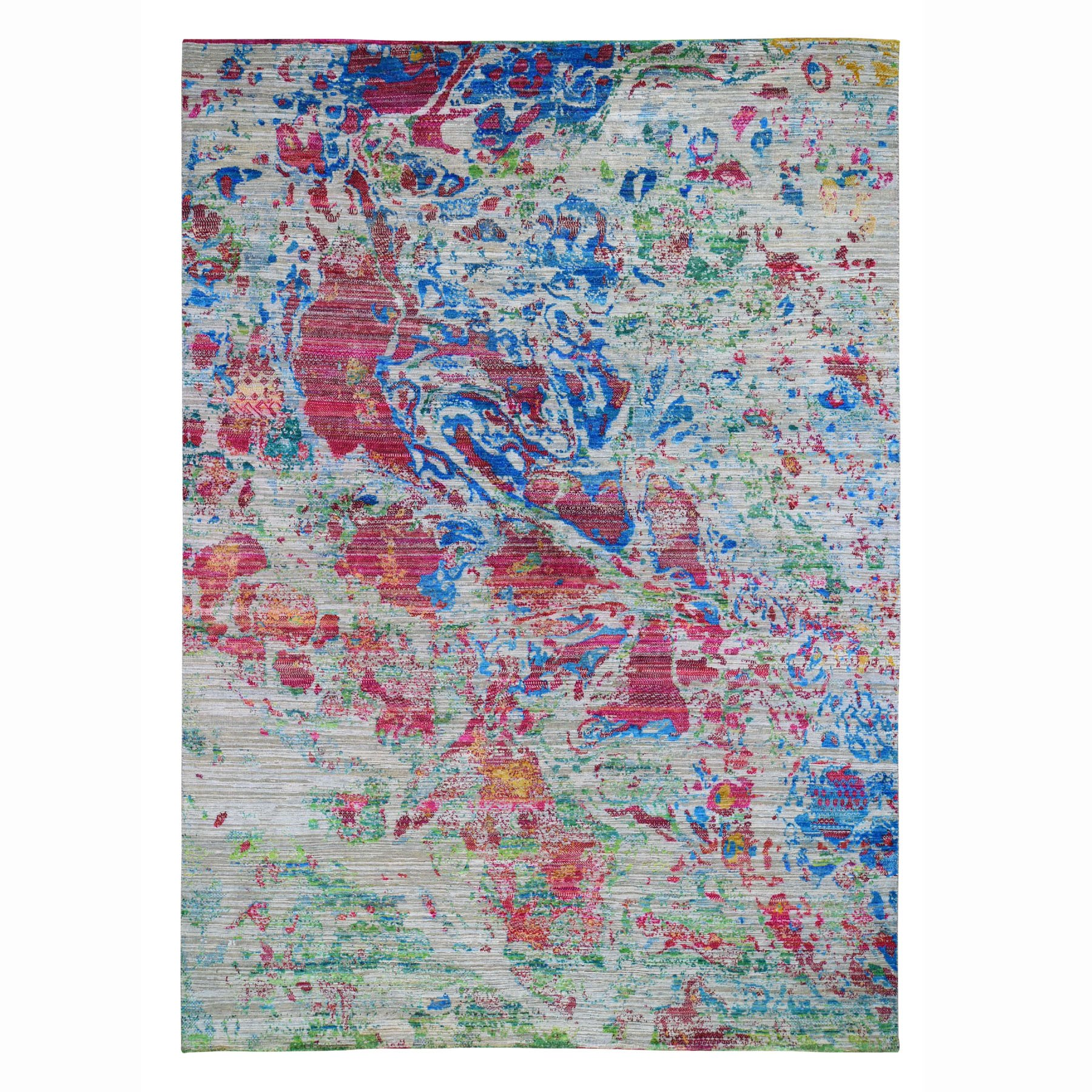 "8'10""X12'2"" Colorful Abstract Design Sari Silk With Textured Wool Hand Knotted Oriental Rug moad787d"
